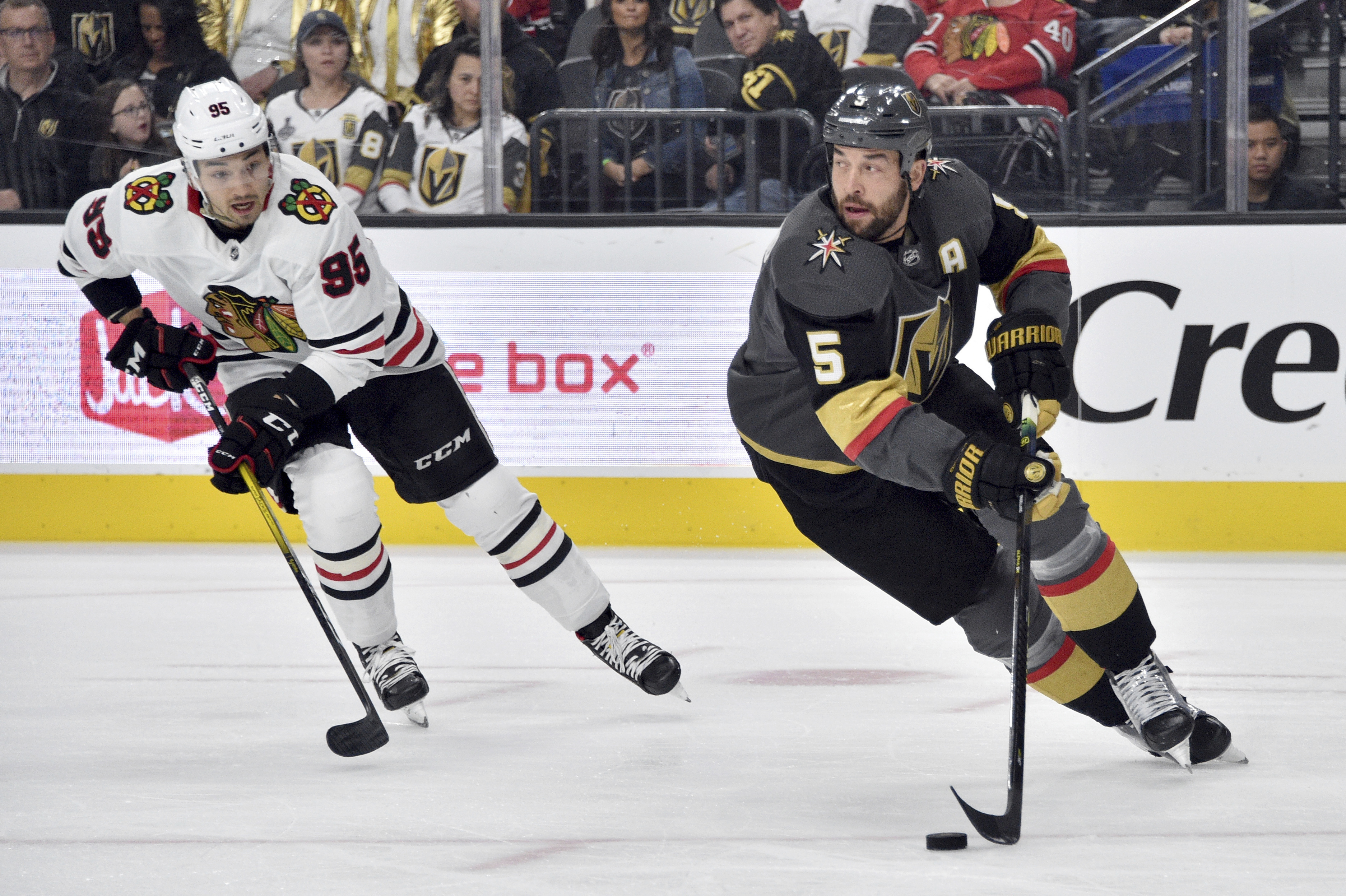By the time the Blackhawks faced the Golden Knights on Tuesday, Dylan Sikura (left) was a tired man.
