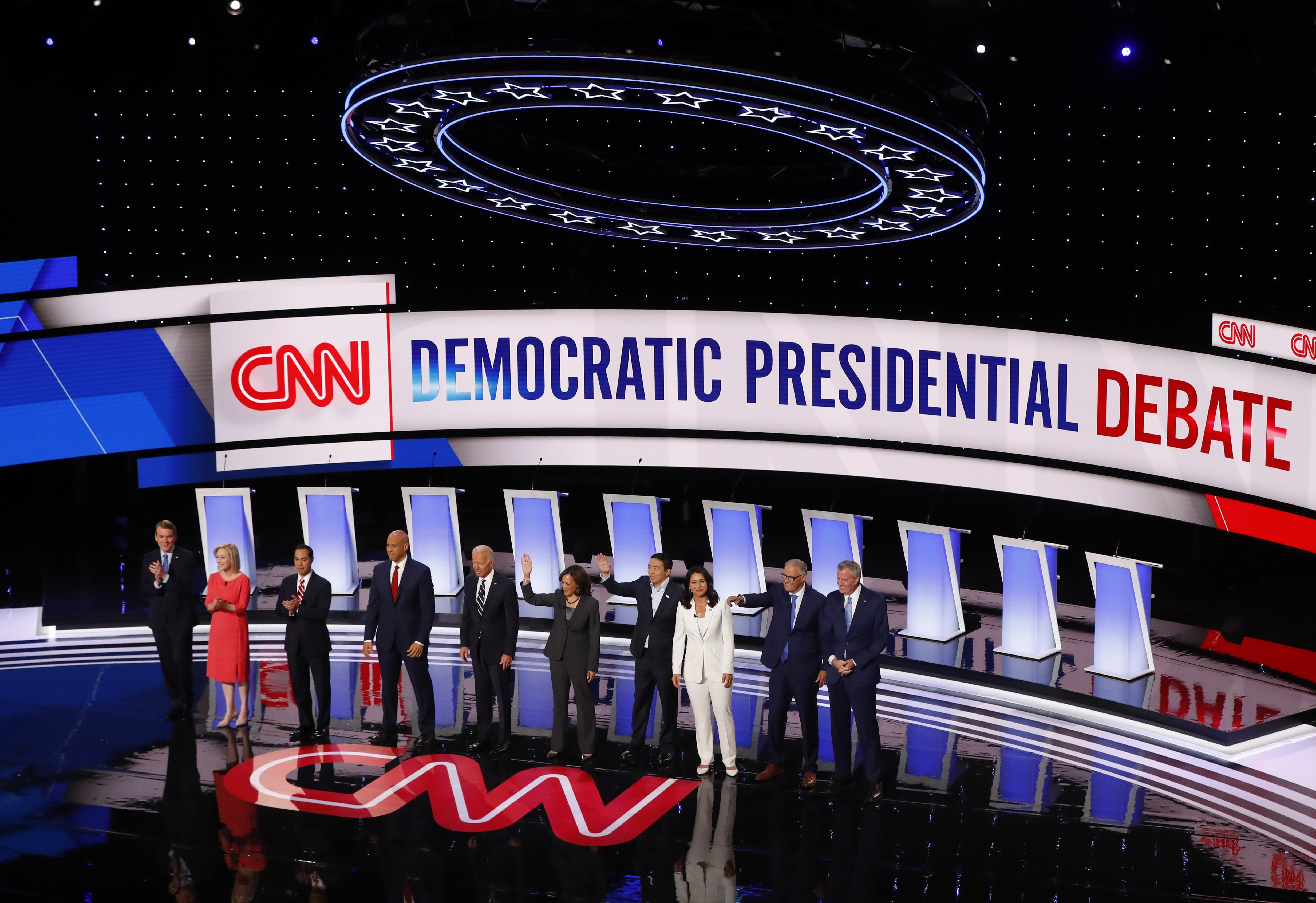 Candidates for president are introduced before the second of two Democratic presidential primary debates hosted by CNN Wednesday, July 31, 2019, in the Fox Theatre in Detroit.
