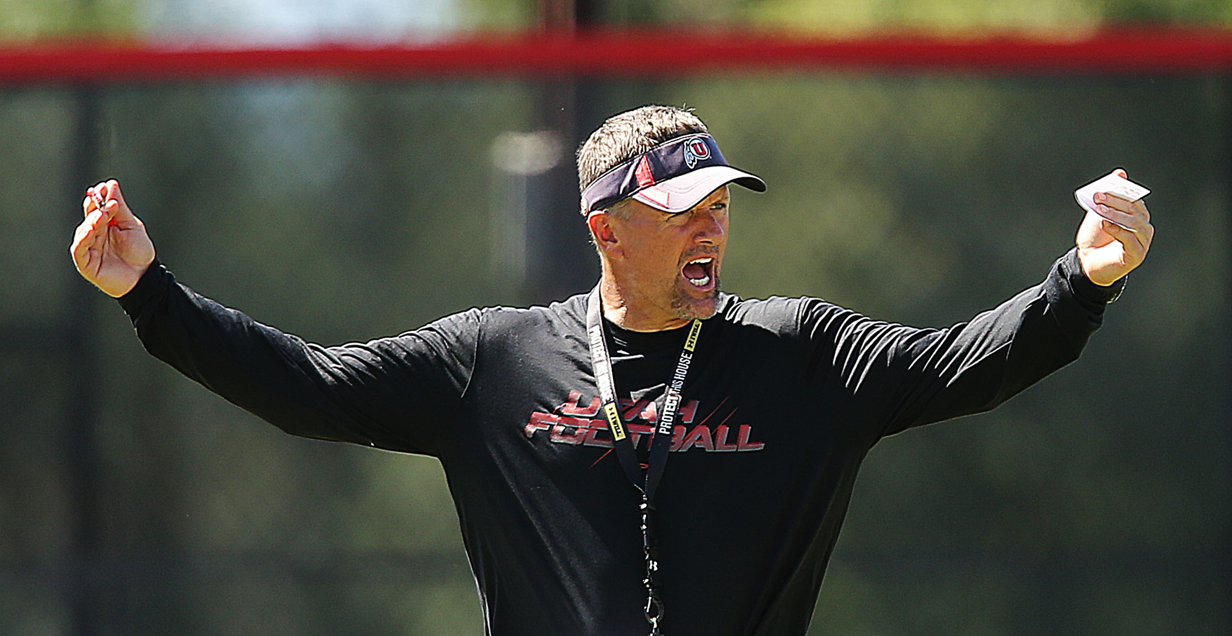Head football coach Kyle Whittingham calls out to his team during practice Friday, Aug. 9, 2013.