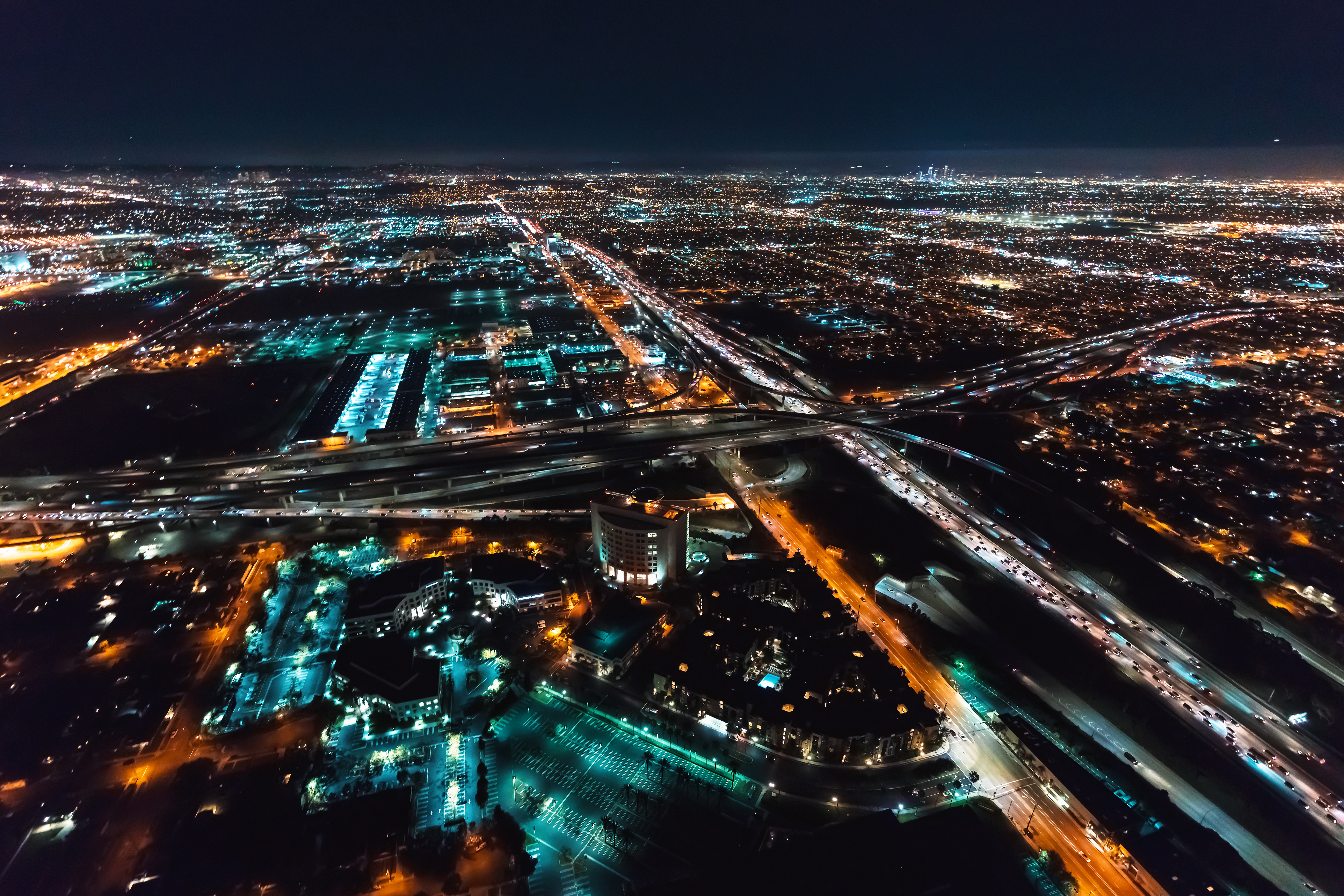 Aerial view of Los Angeles, California, near LAX at night.