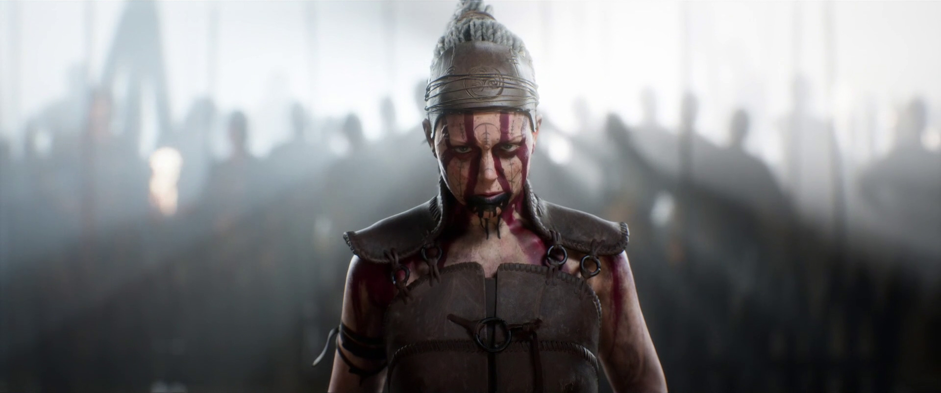 Senua with army and white light behind her in Senua's Saga: Hellblade 2