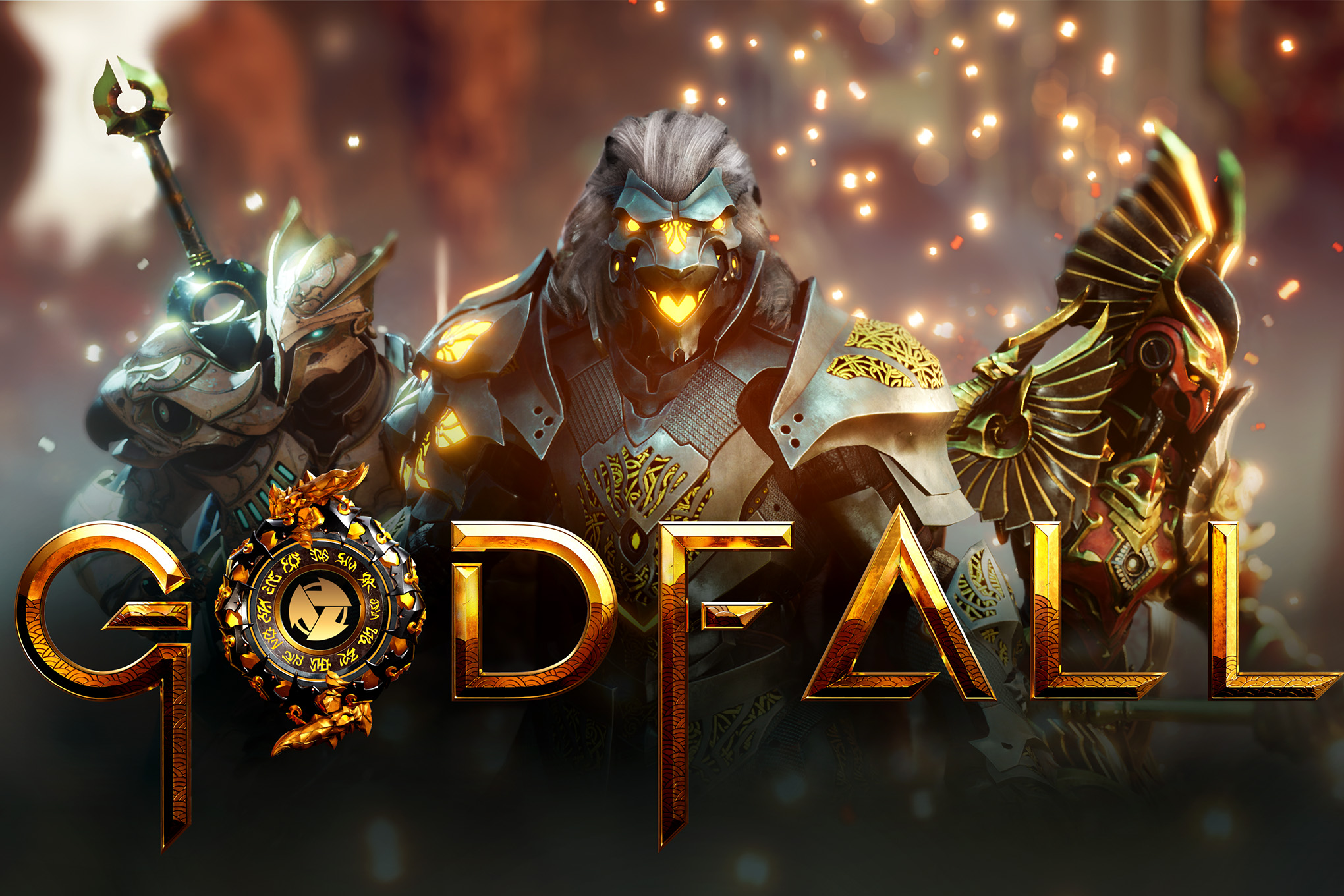 Key art for Godfall shows three armored figures, each with animalistic features. In the center a lion, on the right a bird. The background is hazy, with sparks of fire. They each glow with an internal light.
