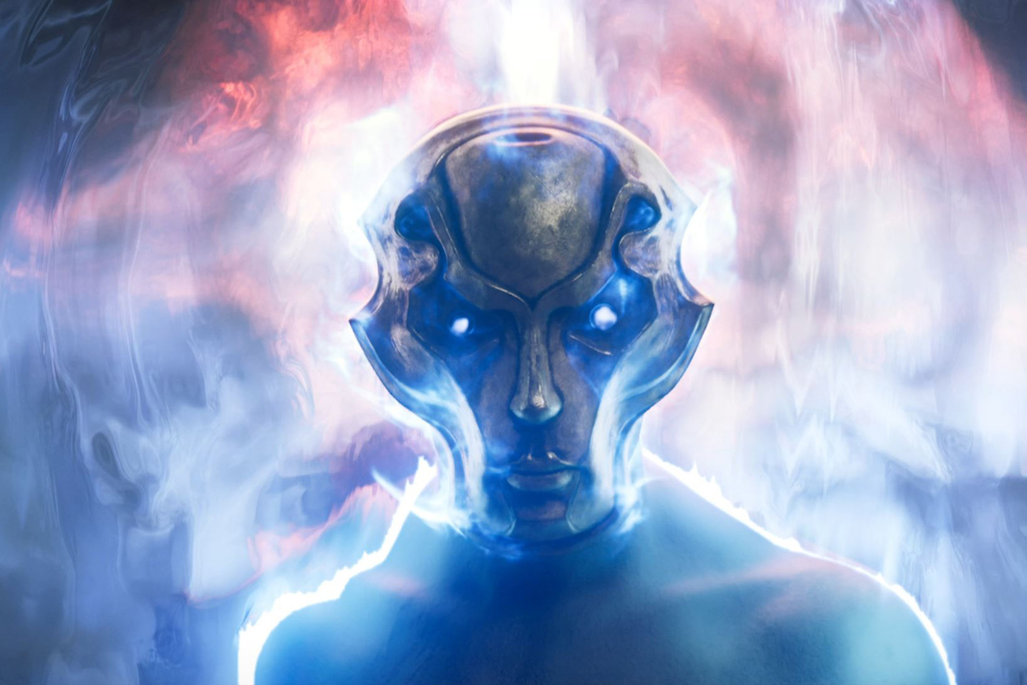 A still image from the Magic: The Gathering trailer for the next set, Theros: Beyond Death. It shows a masked face passing through a shimmering portal.