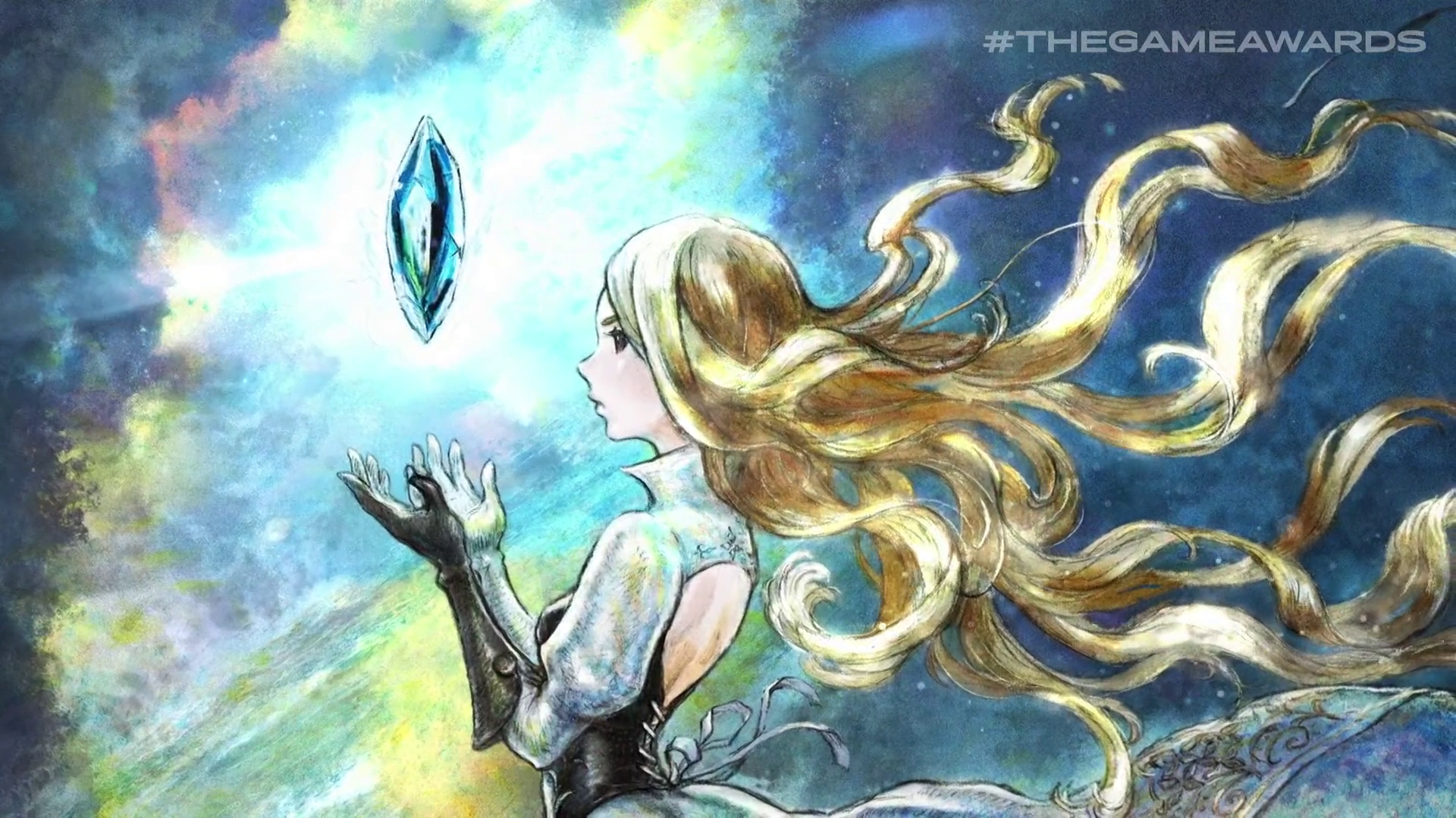 a woman with tendrils of long blond hair with a blue crystal floating above her hands in Bravely Default 2