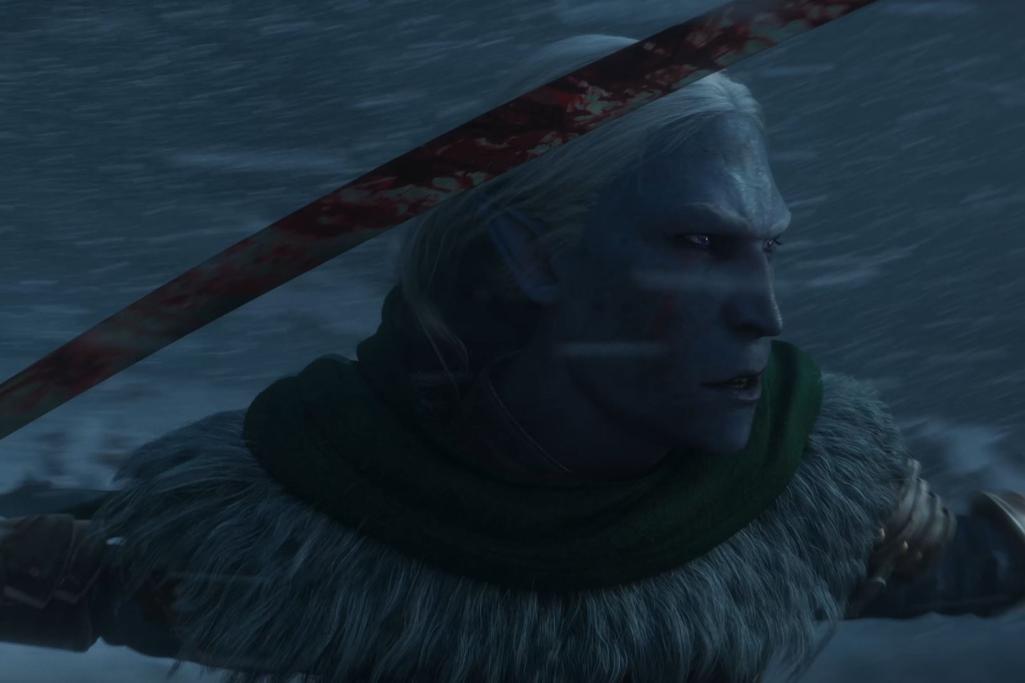 A close up of Drizzt Do'Urden from the CGI trailer announcing Dark Alliance, from Tuque Games and published by Wizards of the Coast. It shows a bloody dark elf in a snowstorm.