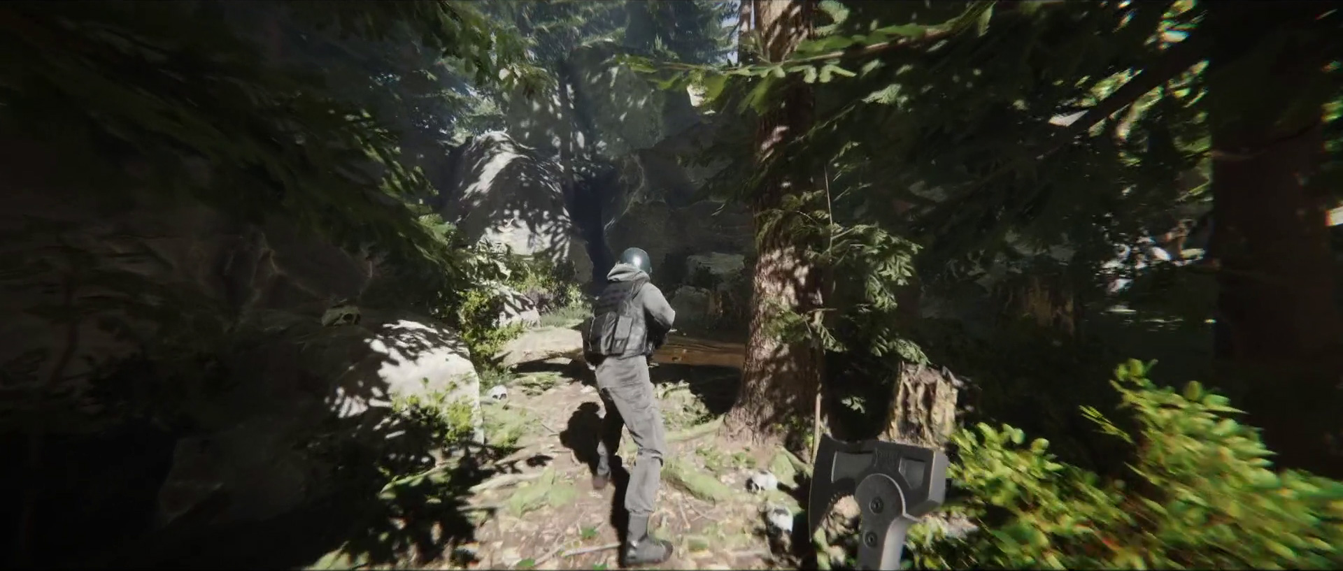following a soldier in a sunny forest in Sons of the Forest