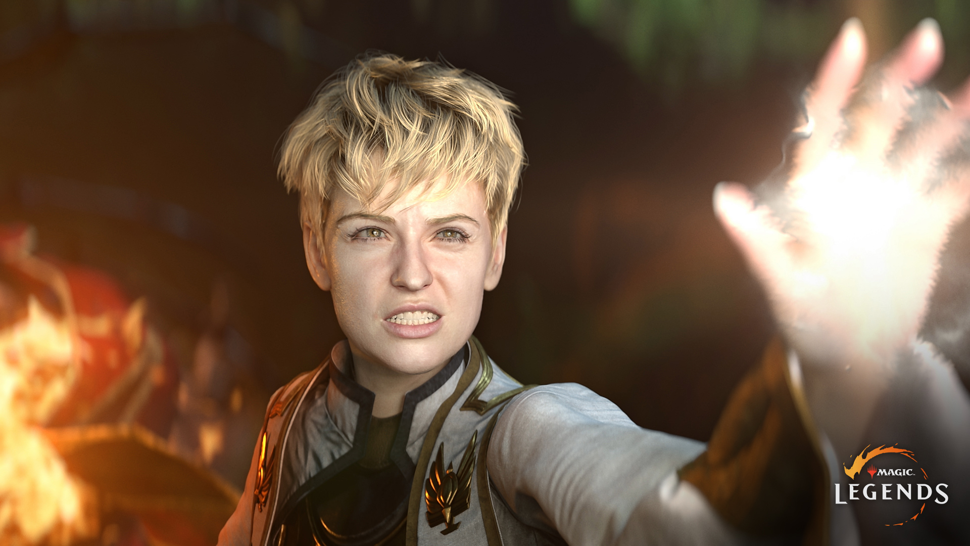 A female Planeswalker casts a spell under duress in Magic: Legends' CGI trailer.