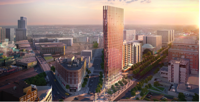 Rendering of a triangular 29-story building against a cityscape.