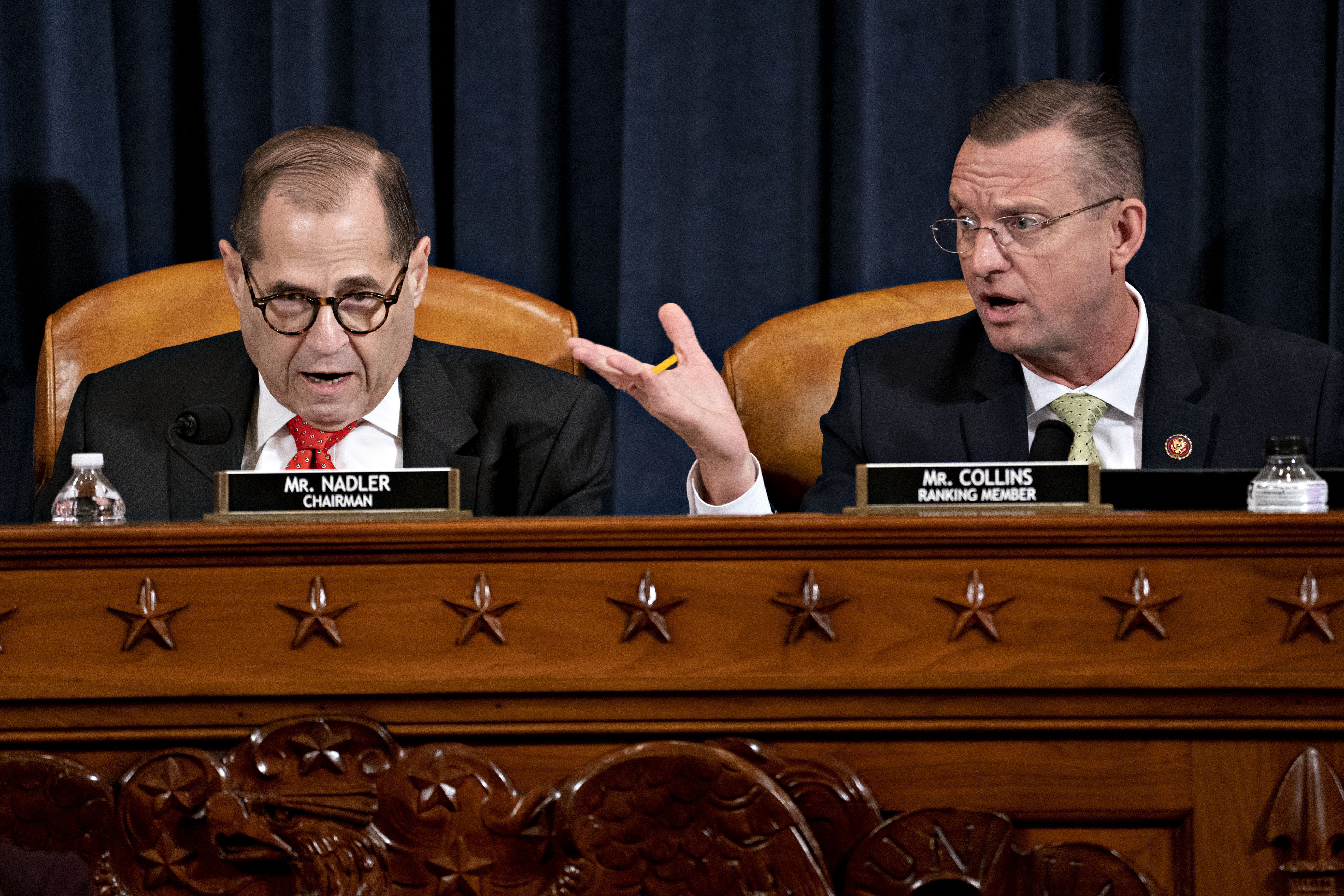 House Judiciary Committee Chairman Rep. Jerrold Nadler, D-N.Y., left, and ranking member Rep. Doug Collins, R-Ga., right, both speaking during a House Judiciary Committee meeting.