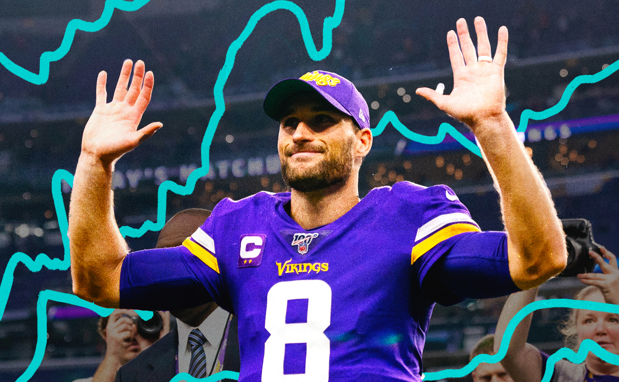 Vikings QB Kirk Cousins holds up both arms and smiles, with illustrations of blue squiggly lines in the background