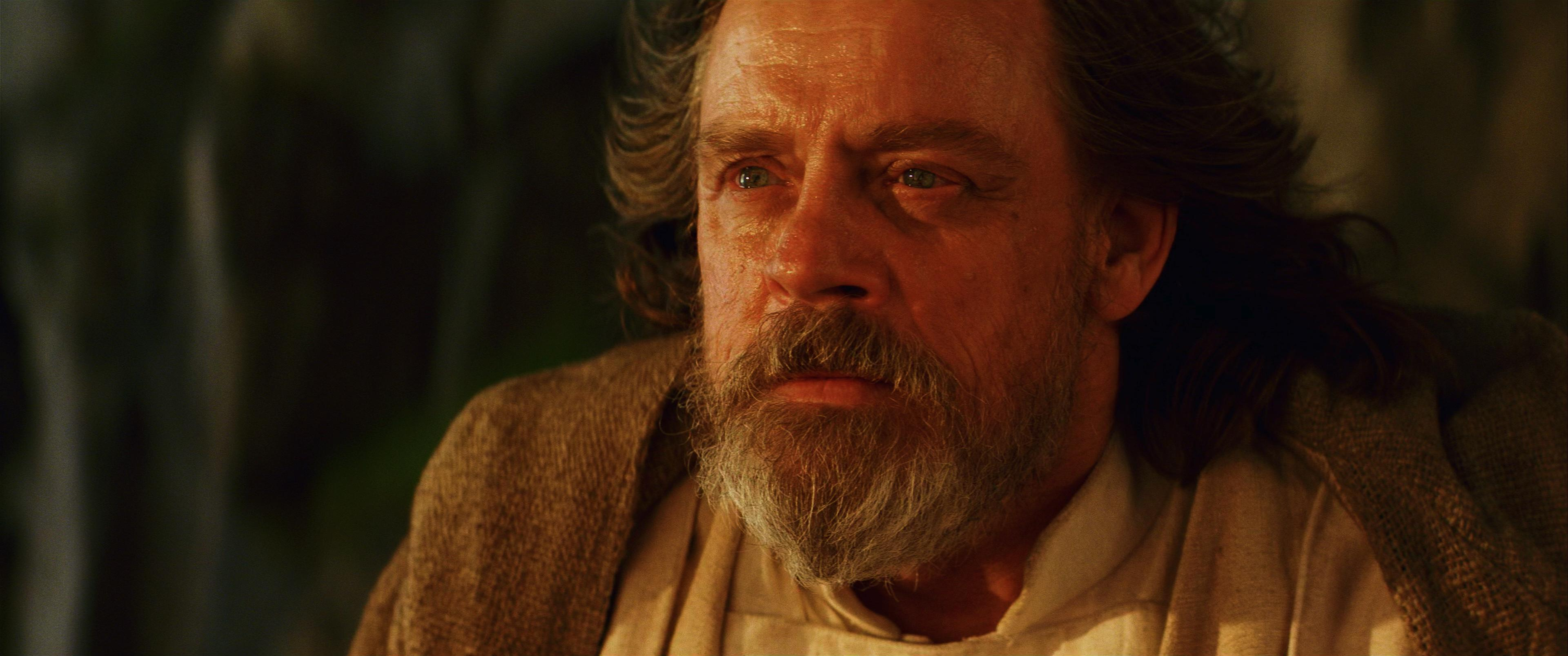 old luke skywalker in close up with tears in his eyes