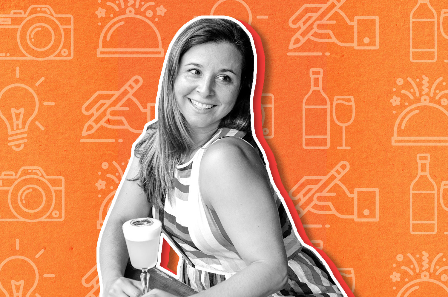 A black and white cut out photo of a white woman with blond hair and a white and striped sleeveless dress drinking a foamy cocktail on an orange background.