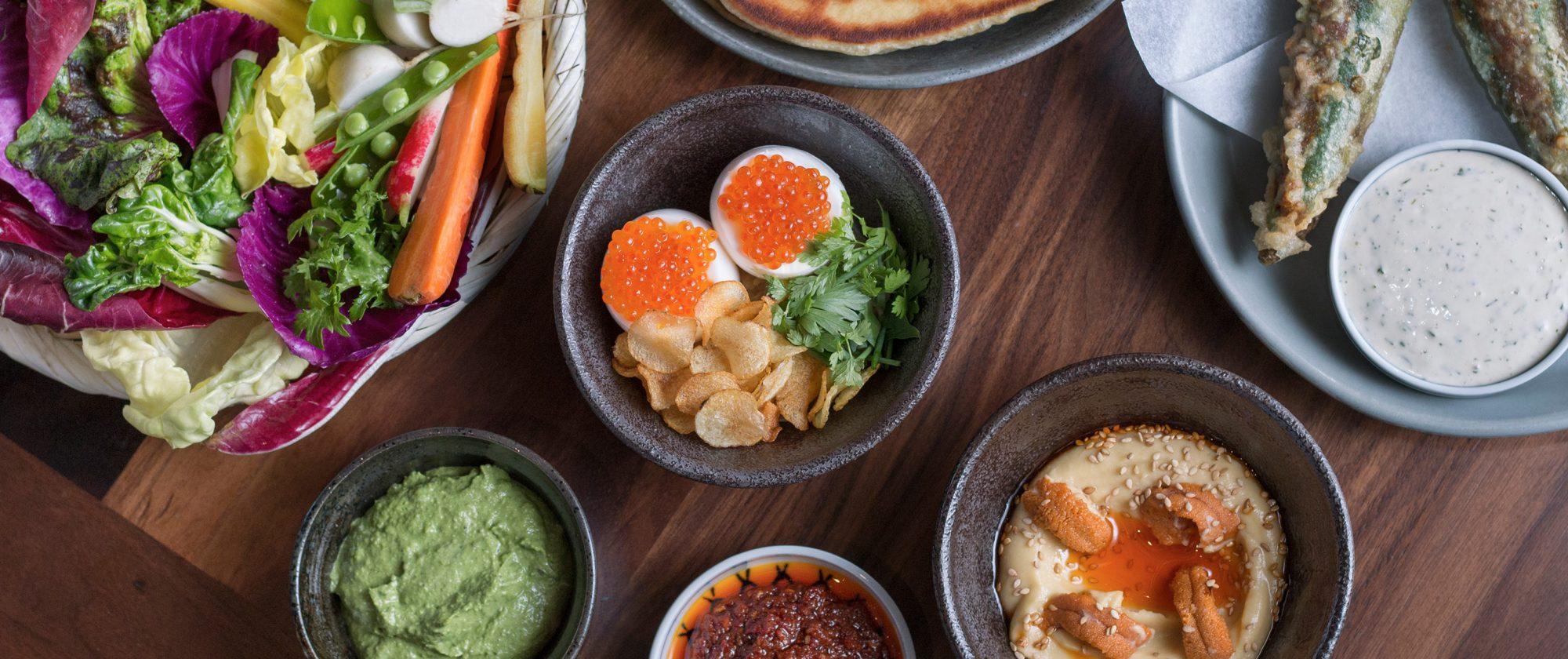 Dishes at Majordomo Meat & Fish