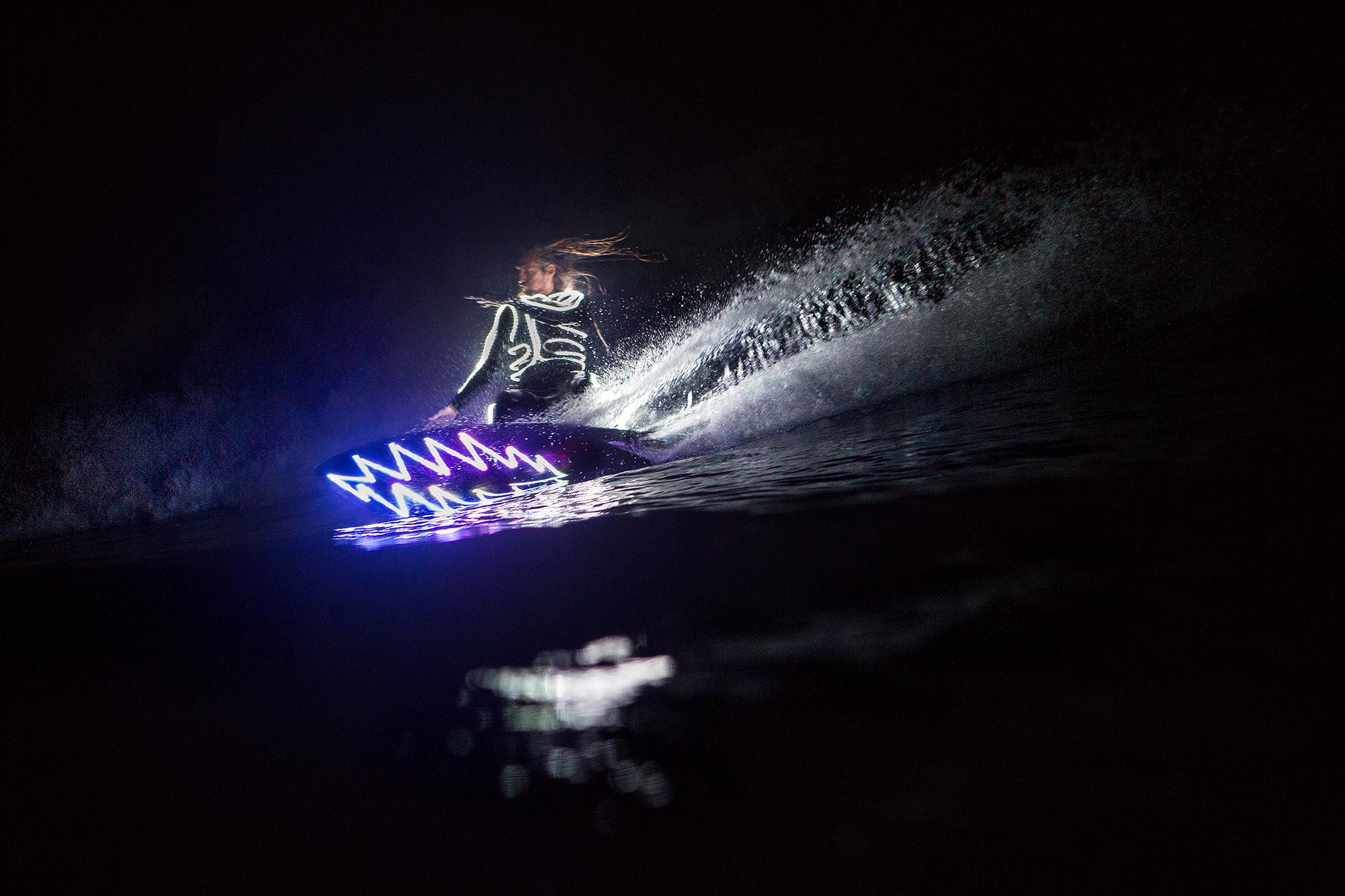 Photo of an illuminated surfboard