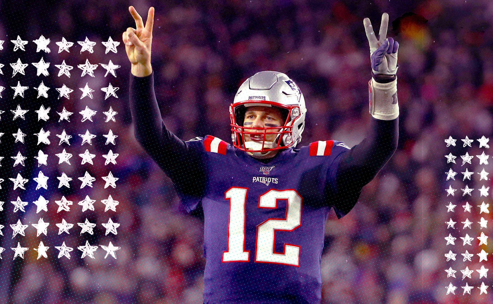 Patriots QB Tom Brady raises both arms and holds up two fingers on each hand