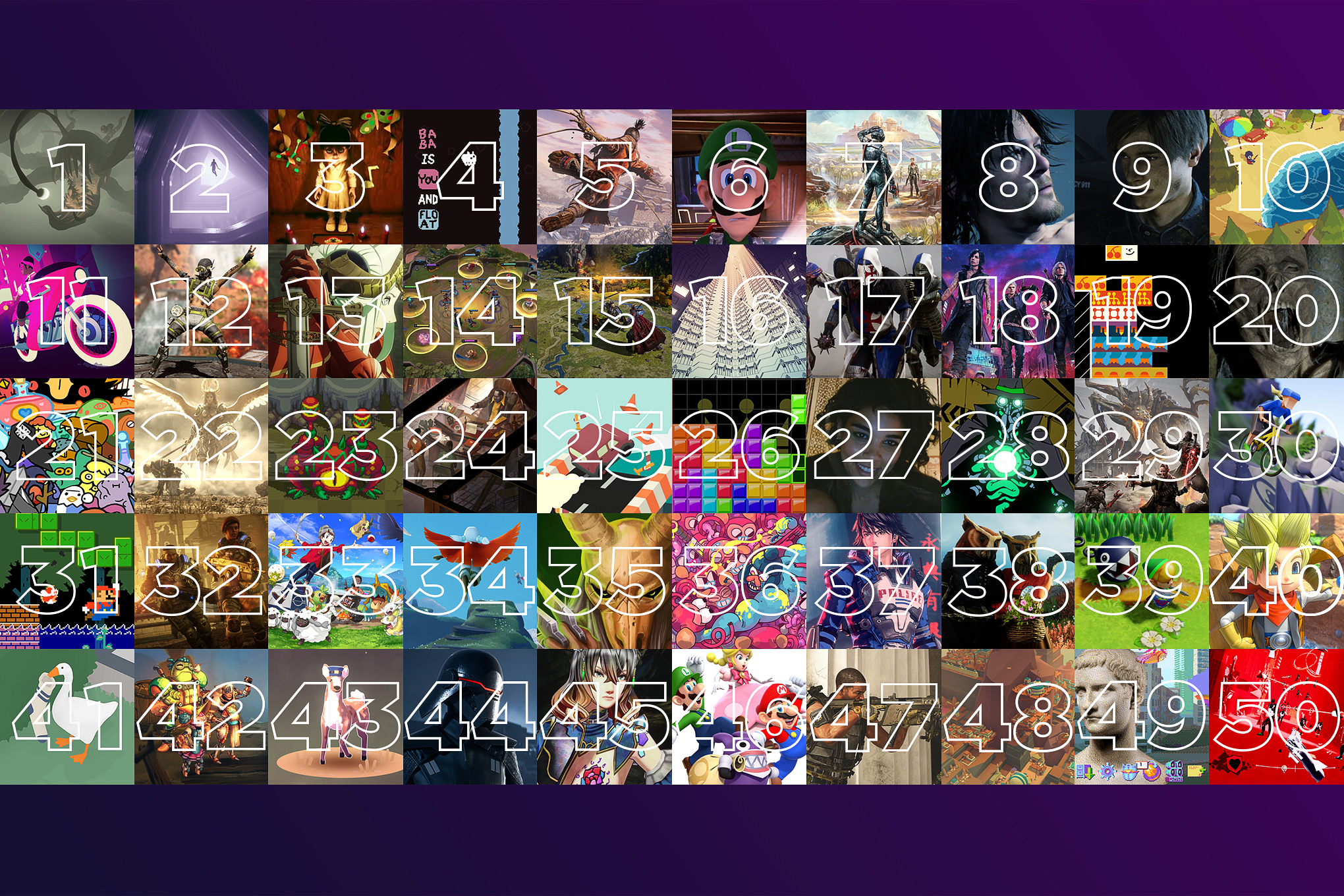 A grid of 50 images from various video games
