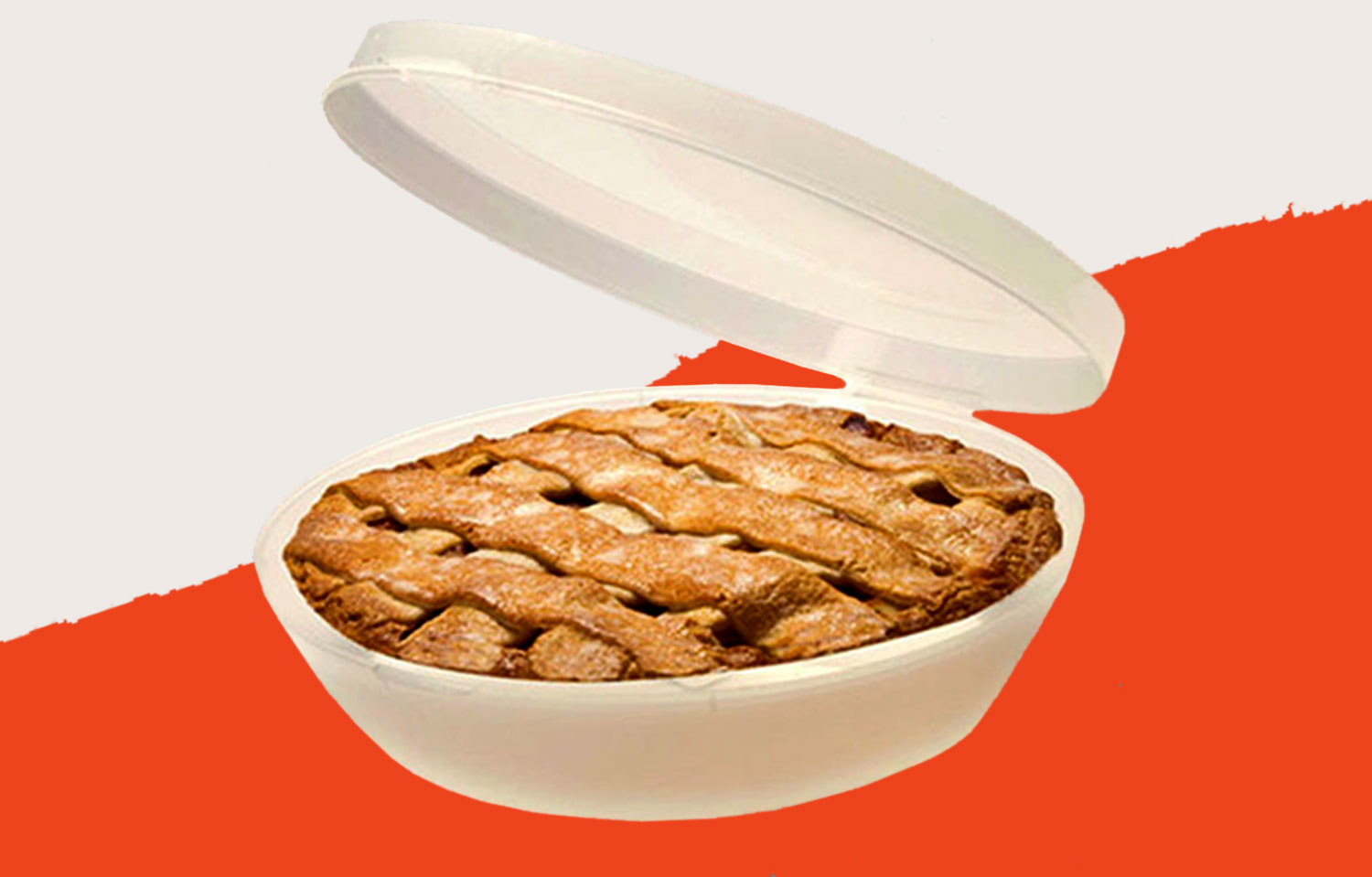 White plastic pie holder with apple pie in it and top lifted