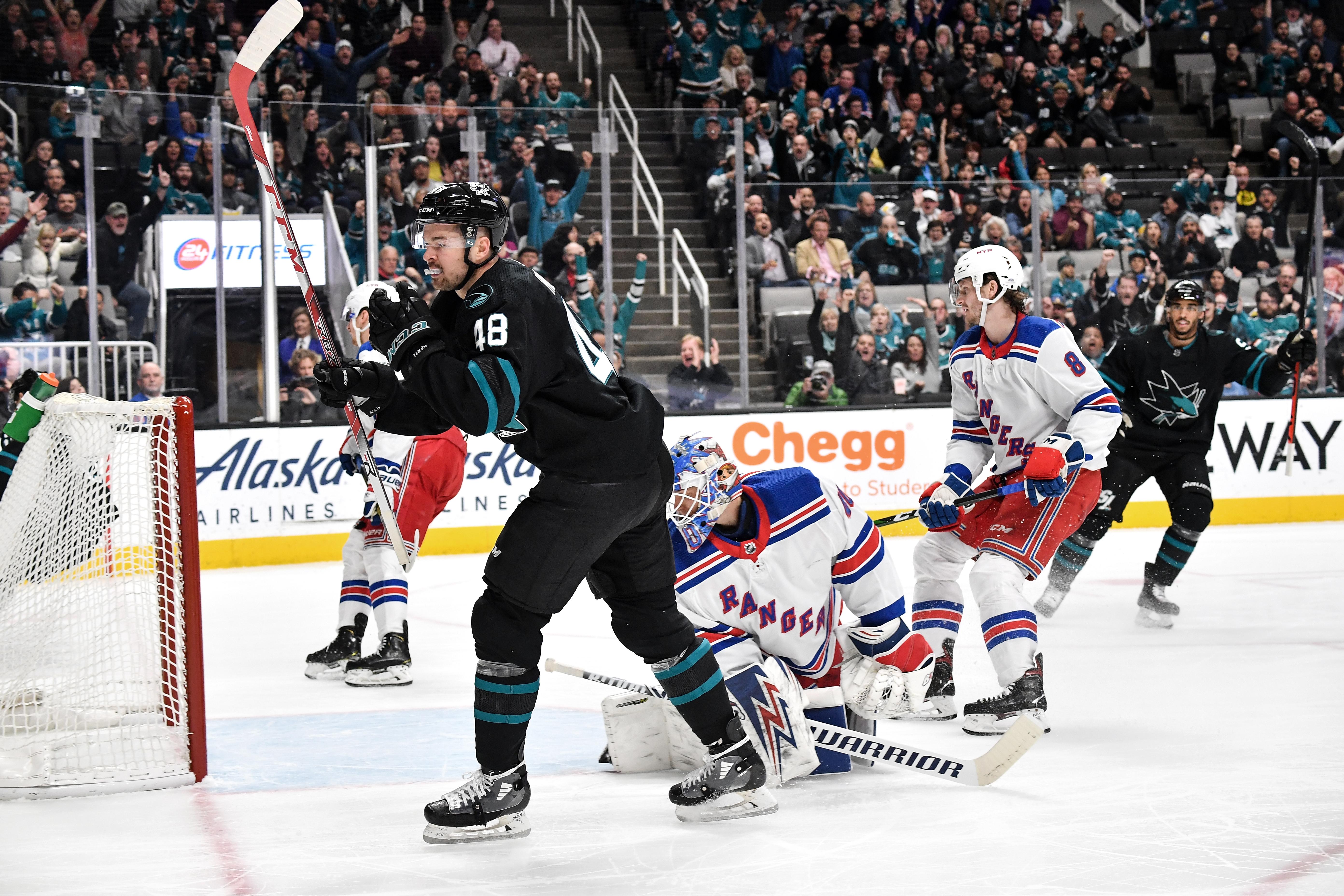 Tomas Hertl #48 of the San Jose Sharks celebrates scoring a goal against the New York Rangers at SAP Center on December 12, 2019 in San Jose, California.