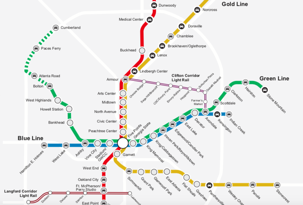 An illustration showing a hypothetical version of Atlanta's MARTA transit with red and yellow and green lines.