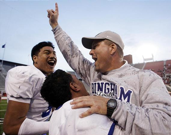 Bingham's head coach Dave Peck, right.