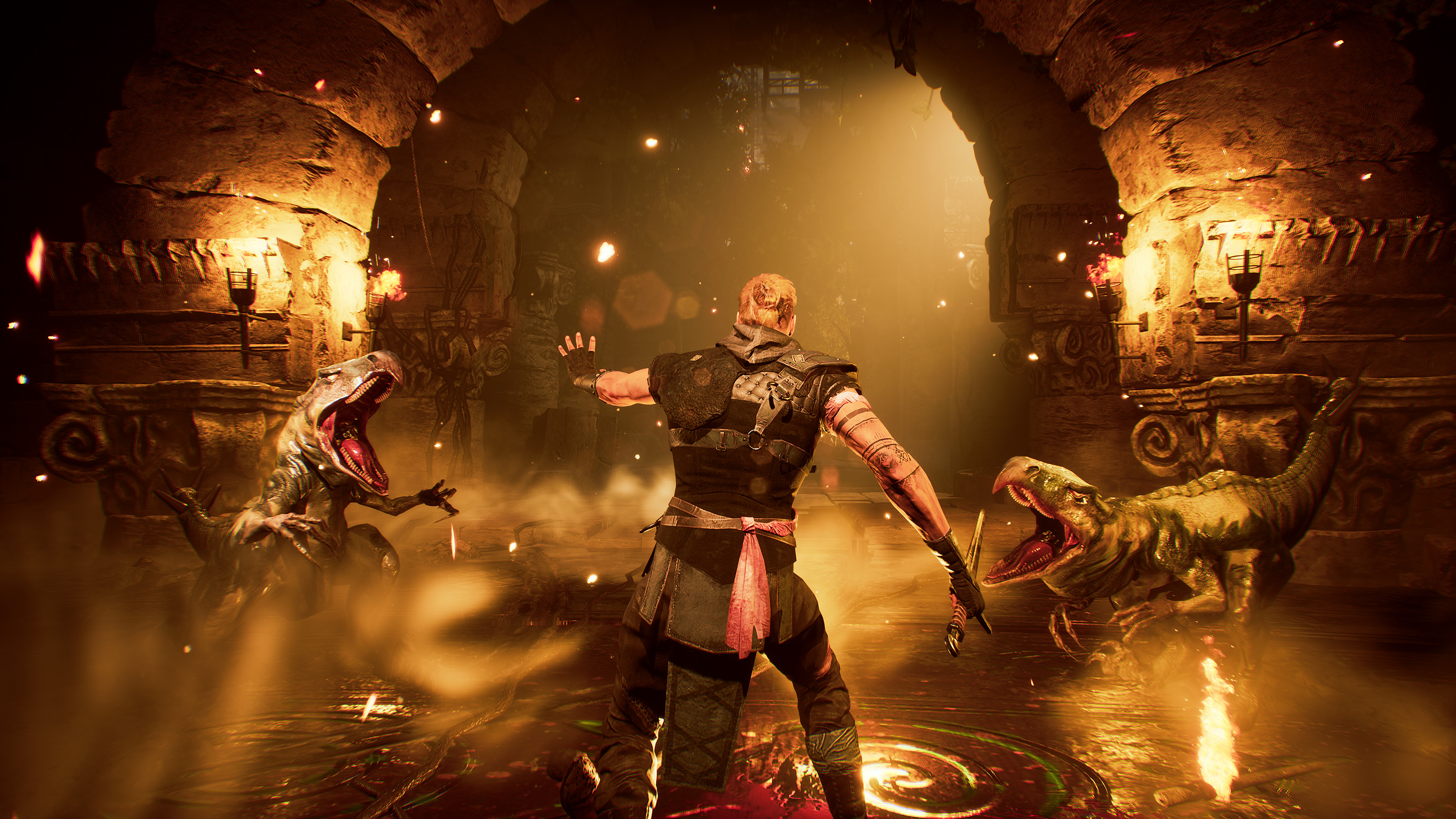 The player character in Gothic fights three raptor-like lizards in a sewer.