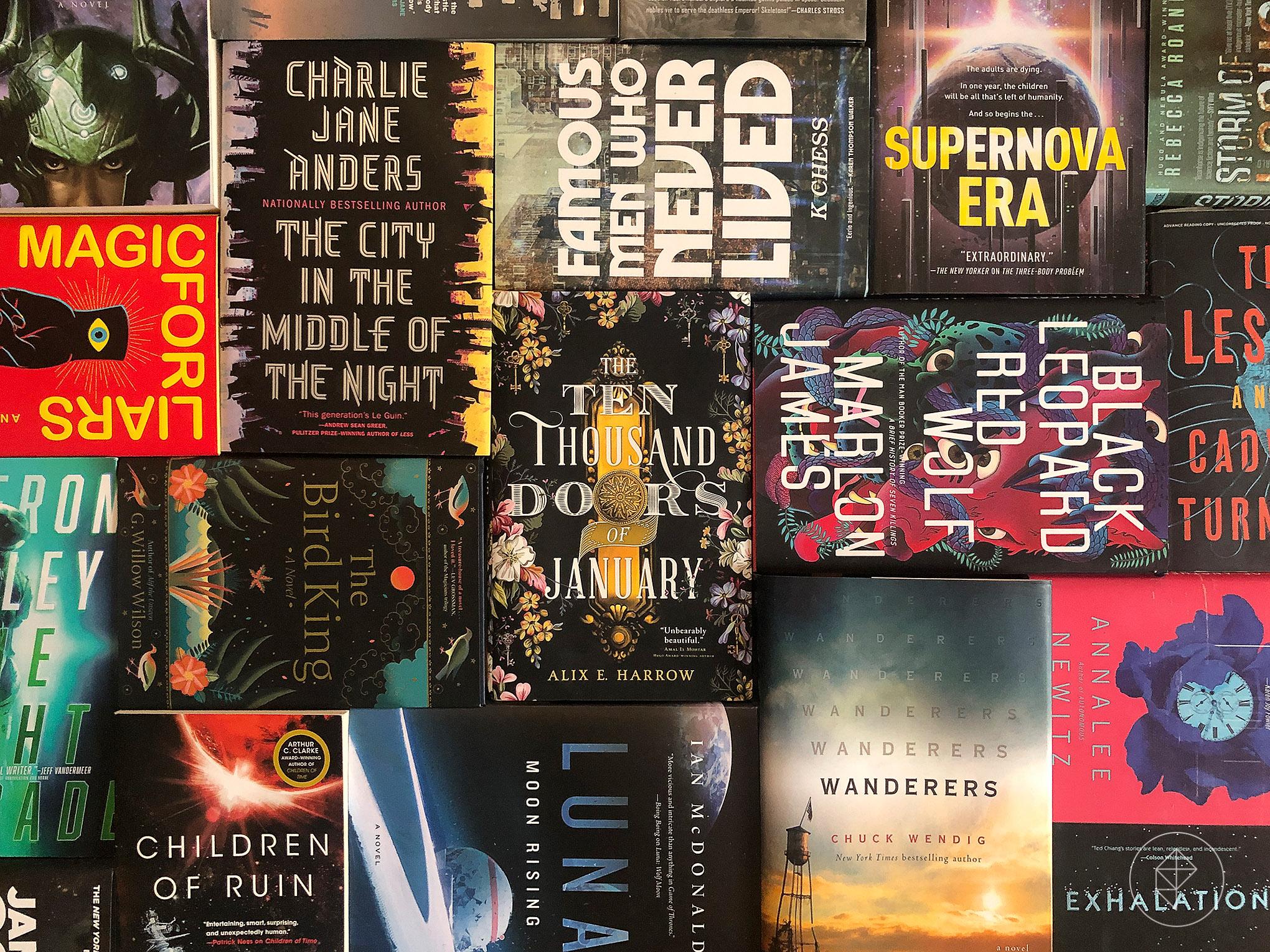 Graphic arrangement of numerous science fiction book covers
