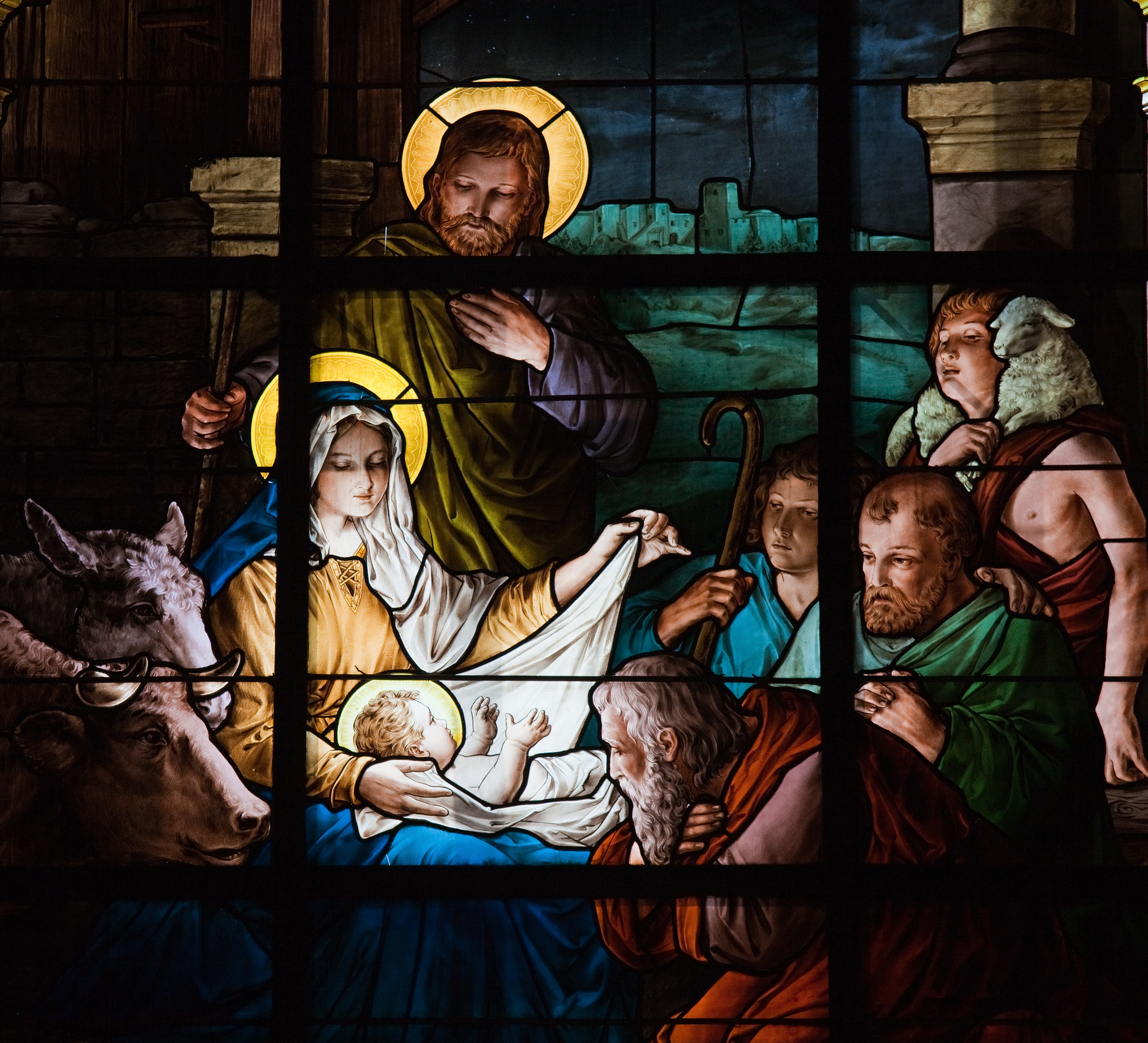 Stained glass window created by F. Zettler (1878-1911) at the German Church (St. Gertrude's church) in Gamla Stan in Stockholm, depicting the Nativity Scene - Image