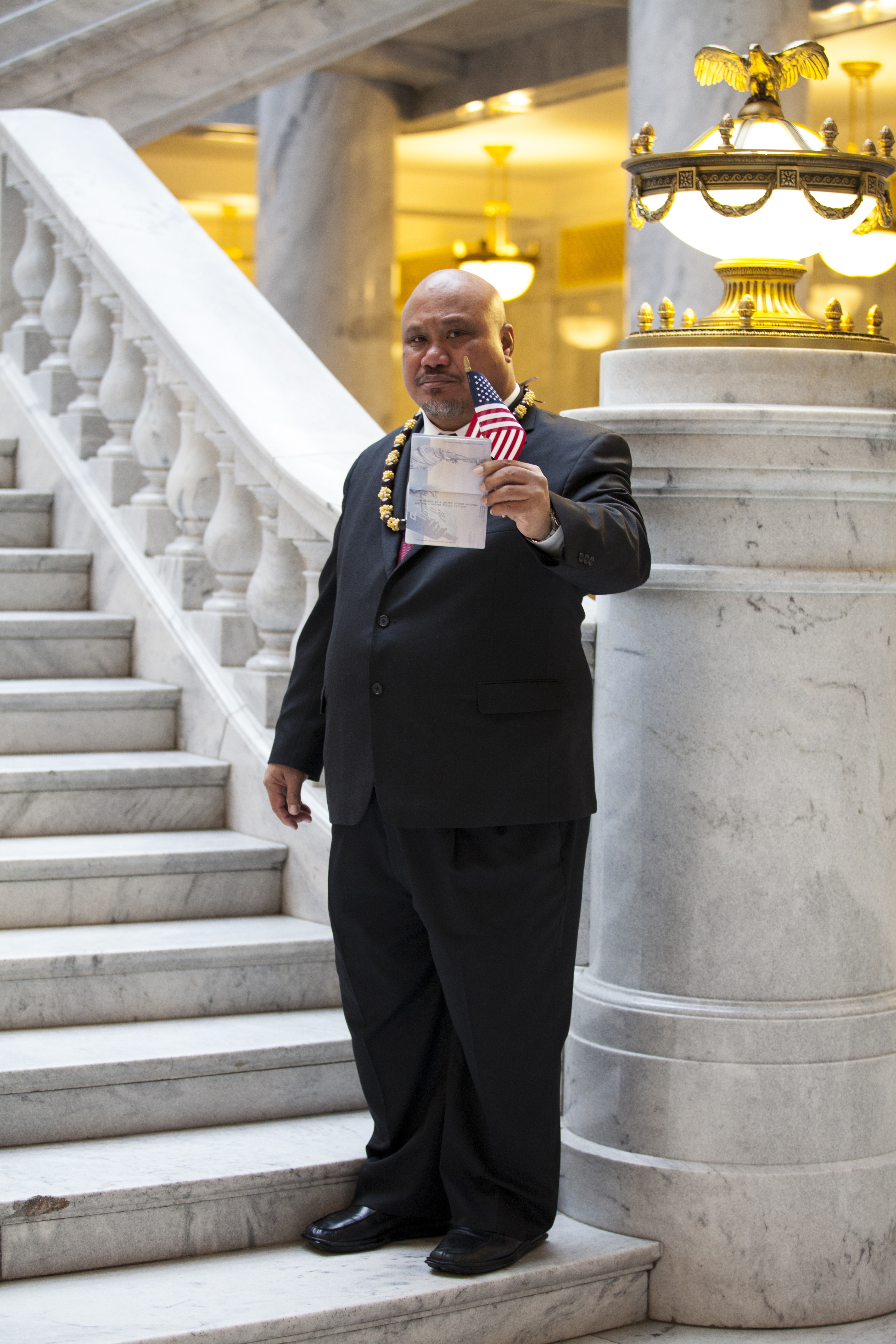In this undated image provided by nonprofit advocacy and legal group Equally American, John Fitisemanu, an American Samoan and the lead plaintiff in a lawsuit against the United States seeking full U.S. citizenship, poses for a photo in Salt Lake City, Ut