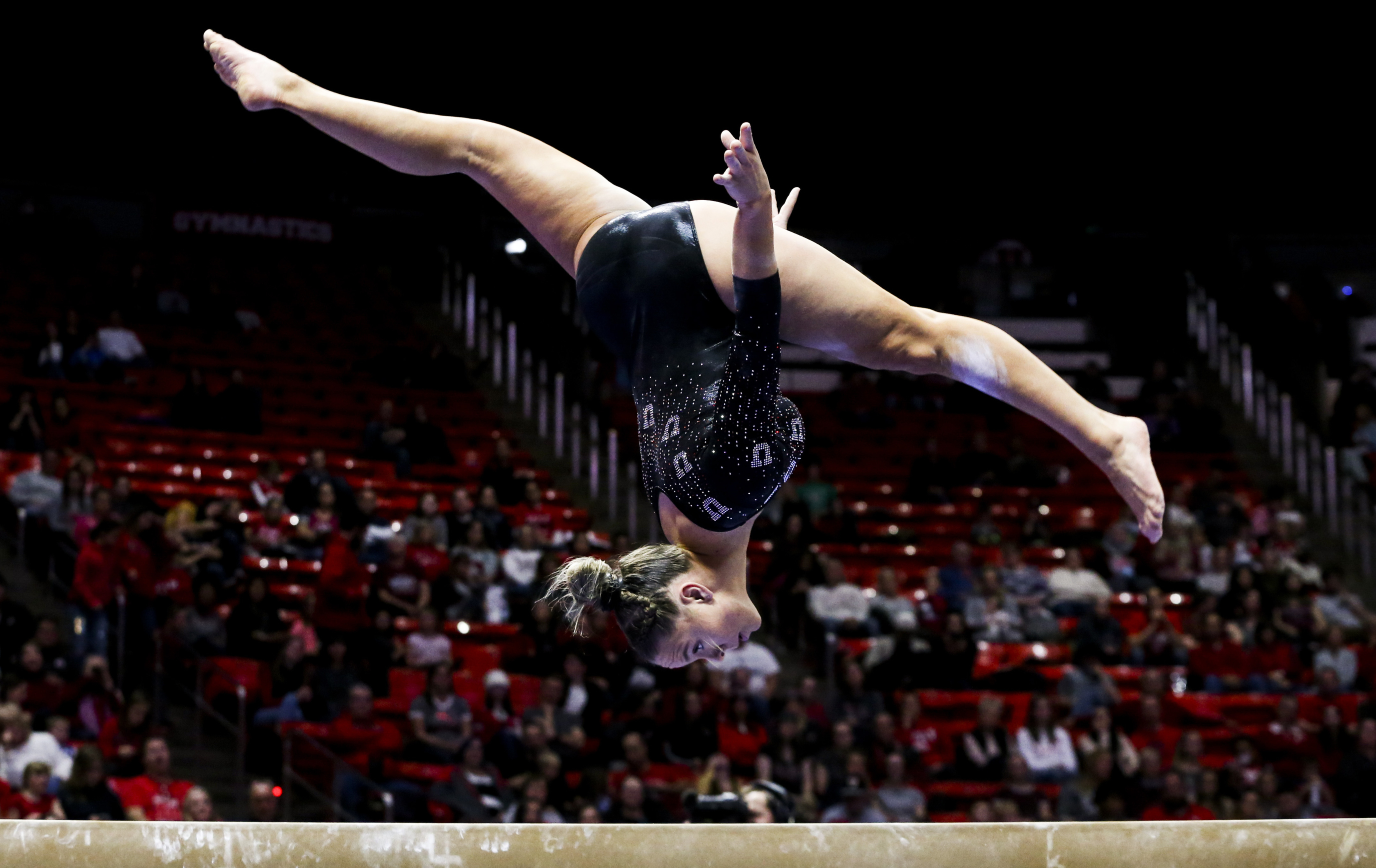 Utah gymnast Maile O'Keefe performs on the beam during the Red Rocks Preview gymnastics event at the Jon M. Huntsman Center on the University of Utah campus in Salt Lake City on Friday, Dec. 13, 2019.