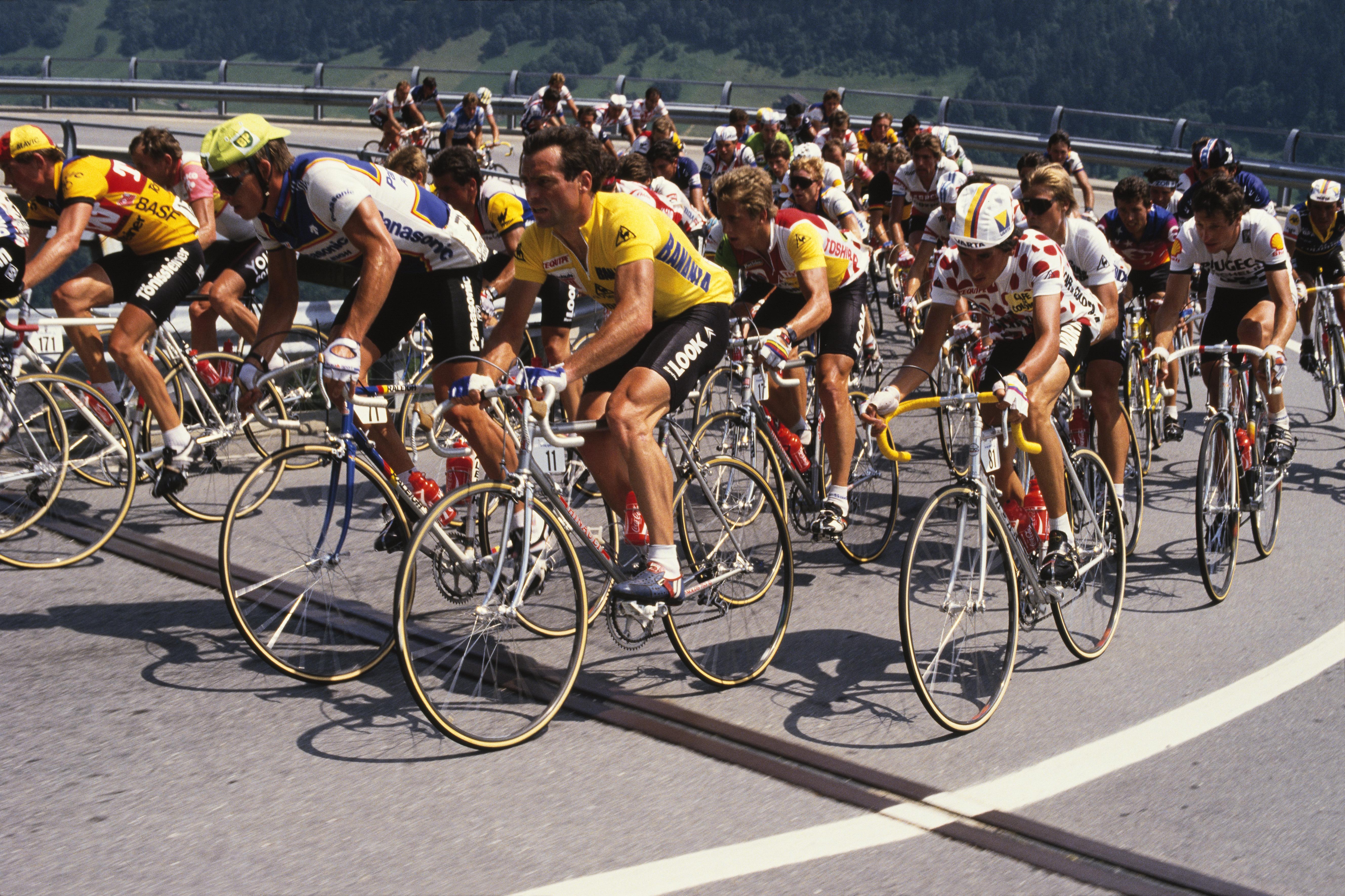 Tour de France, 1985: Phil Anderson, Bernard Hinault, Greg Lemond, and Luis Herrera