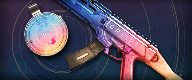 the rainbow colors of Gris (and the game's logo) applied to Ela's submachine gun in Rainbow Six Siege