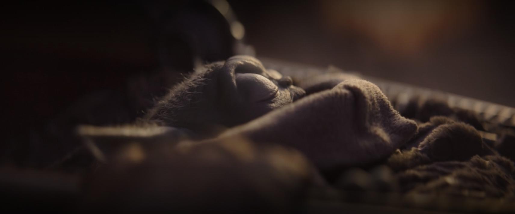 Baby Yoda asleep in his space crib while The Mandalorian softly rocks it