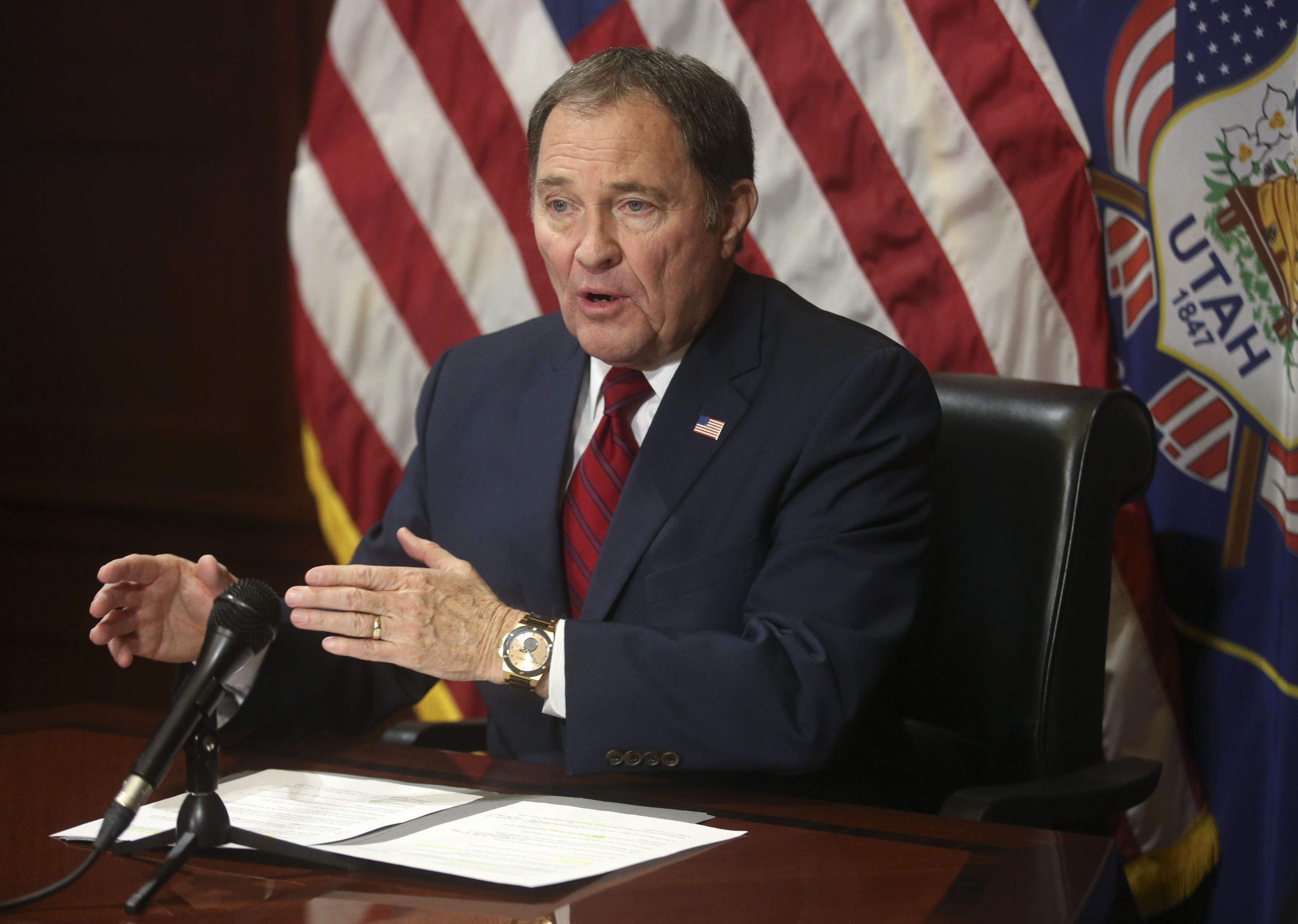 Gov. Gary Herbert speaks to members of the media about tax reform and other current affairs at the Capitol in Salt Lake City on Thursday, Feb. 14, 2019.