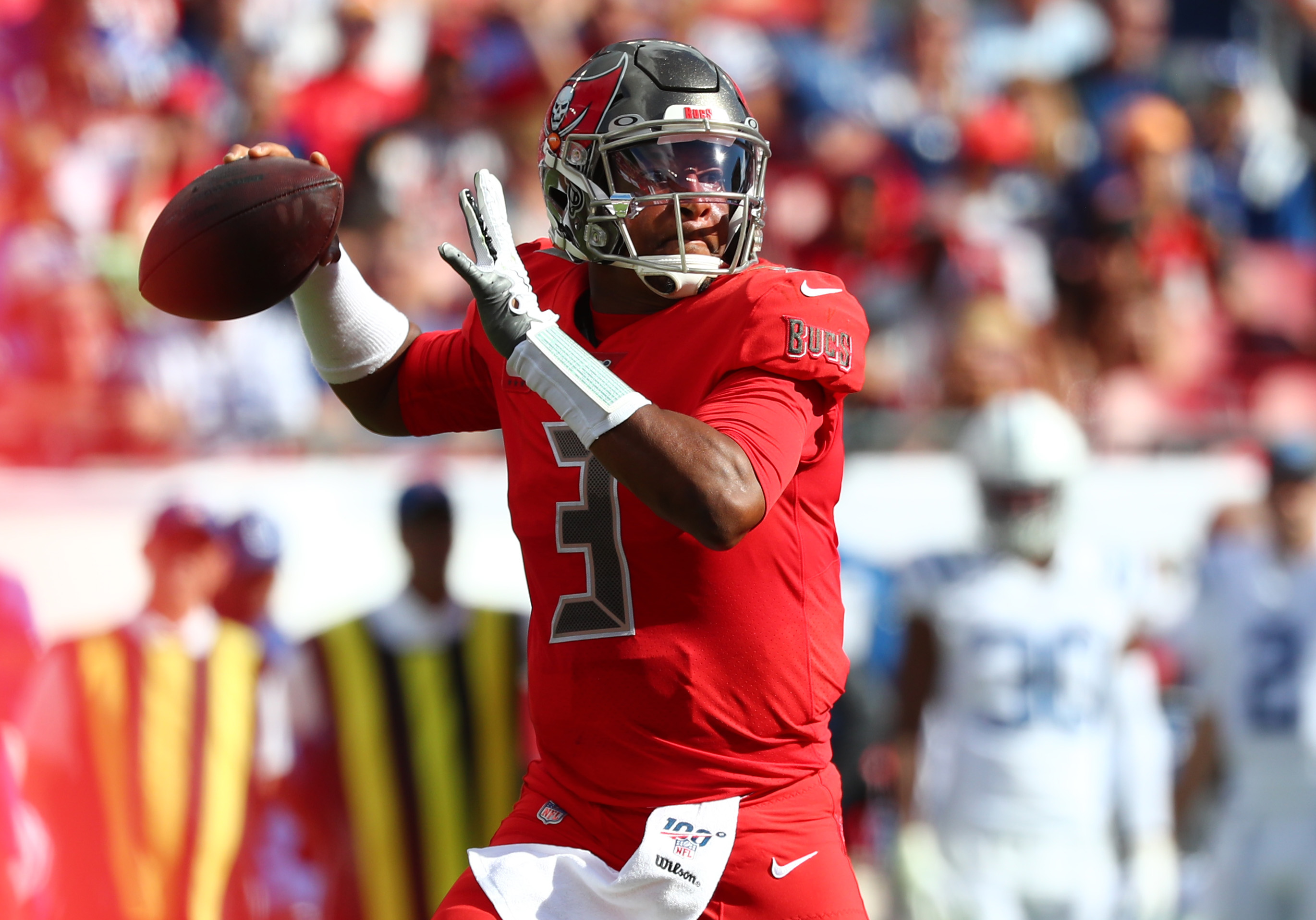 Tampa Bay Buccaneers quarterback Jameis Winston throws the ball against the Indianapolis Colts during the first half at Raymond James Stadium.