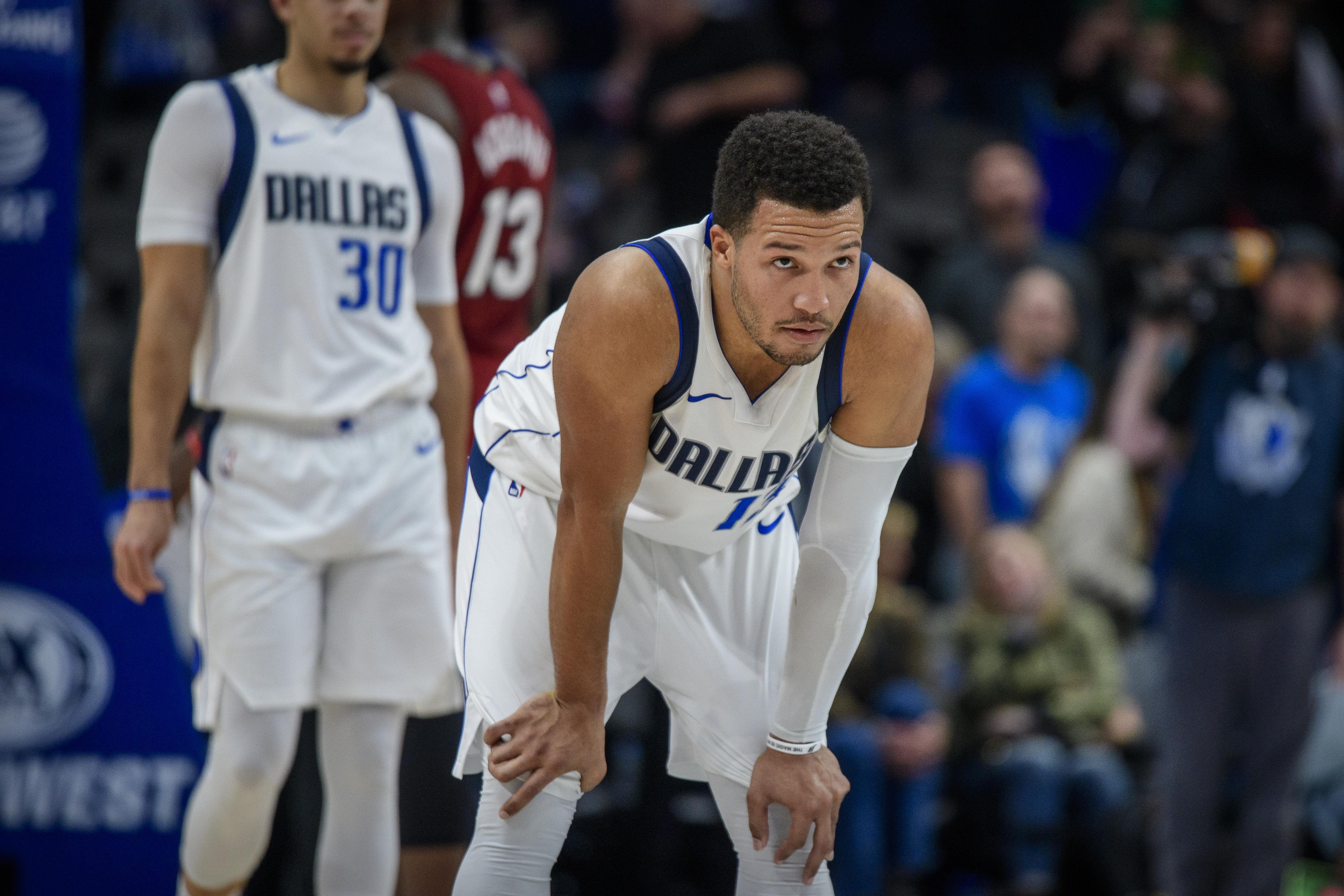 Dallas Mavericks guard Jalen Brunson reacts to missing a shot against the Miami Heat during overtime at the American Airlines Center.