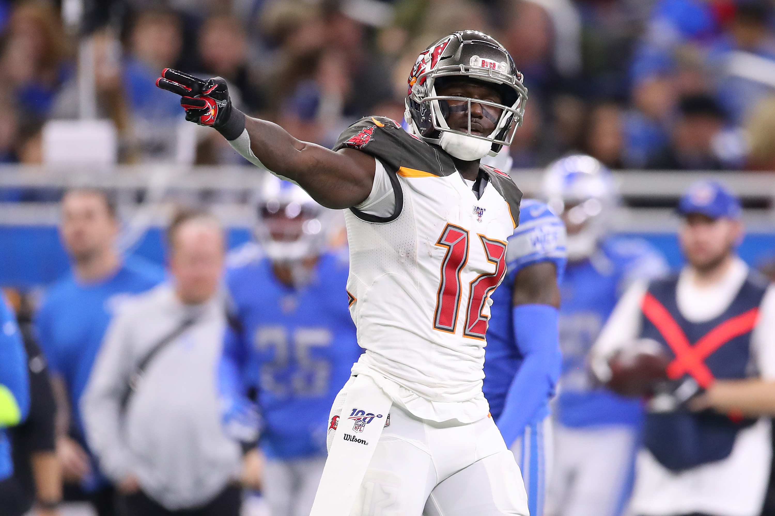 Chris Godwin of the Tampa Bay Buccaneers signals a first down after a first half catch against the Detroit Lions at Ford Field on December 15, 2019 in Detroit, Michigan.