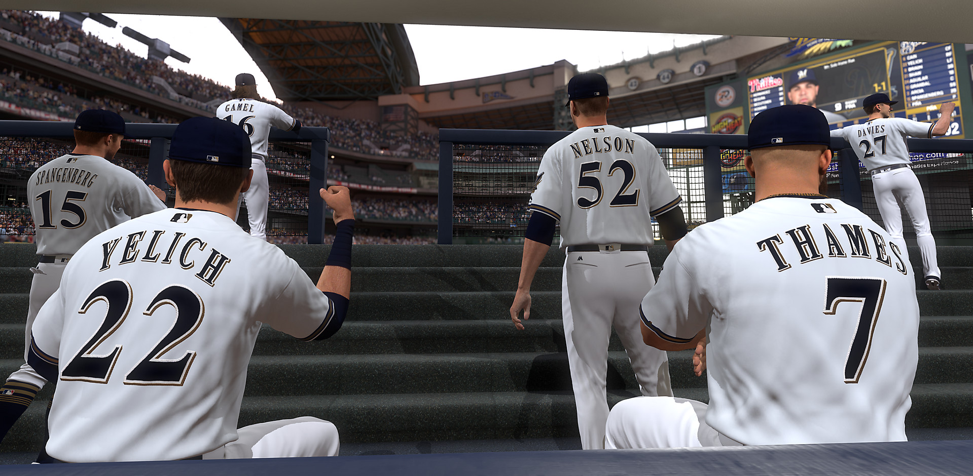 MLB The Show 19 - view from inside the Brewers dugout