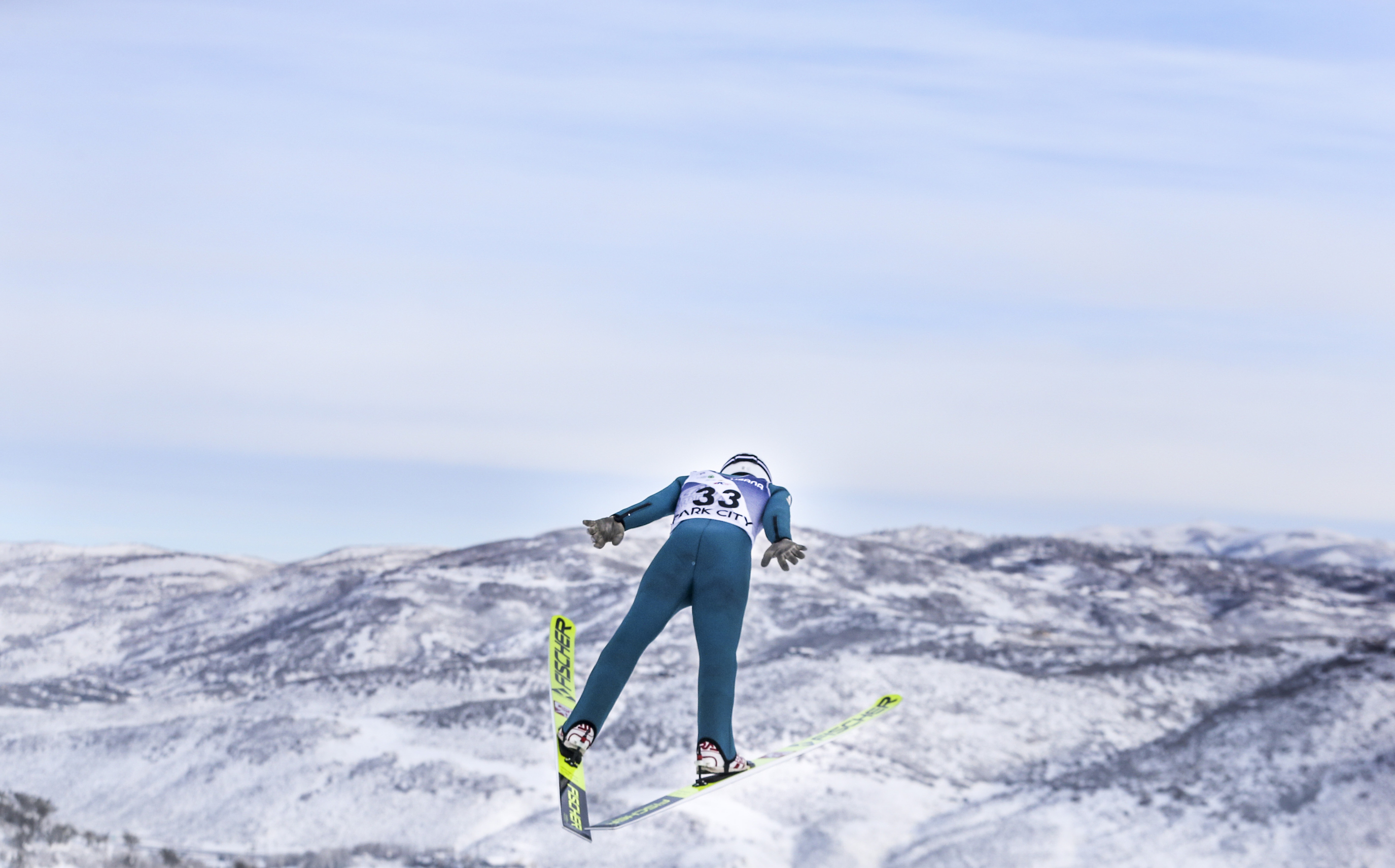 Samuel Mraz of Austria takes his trial jump before the ski jumping portion of competition during the FIS Nordic Combined Continental Cup on the ski jumping hill at the Utah Olympic Park on Sunday, Dec. 15, 2019. Mraz scored 109.6 points on his jump placing him 25th going into the ski racing portion of the competition.
