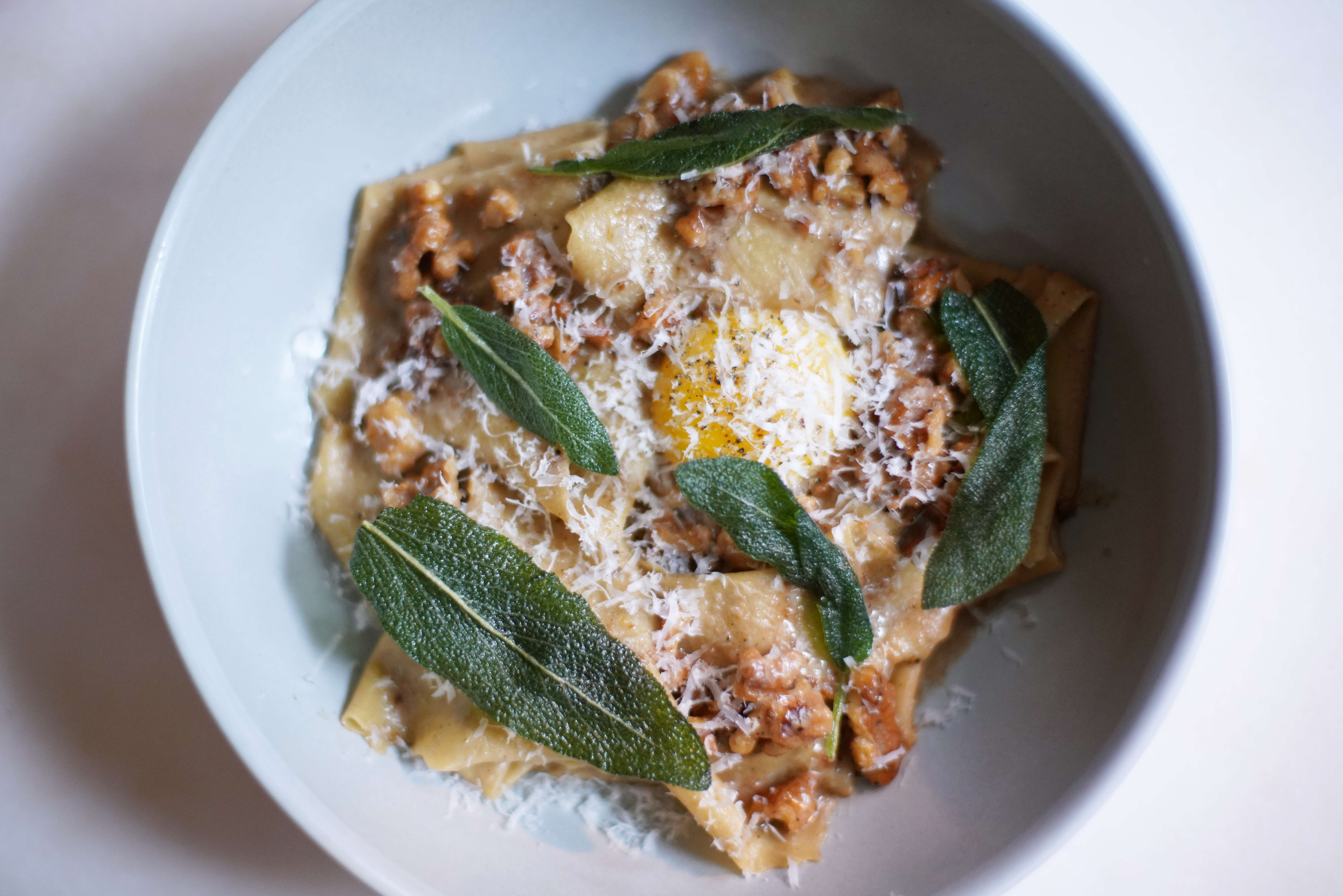 plate of pasta with egg