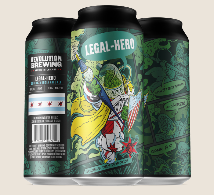 Three cans of beer with comic book art in green and black.