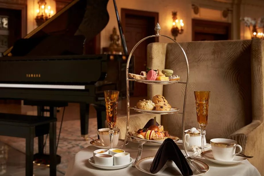 A tea tower at the St. Regis