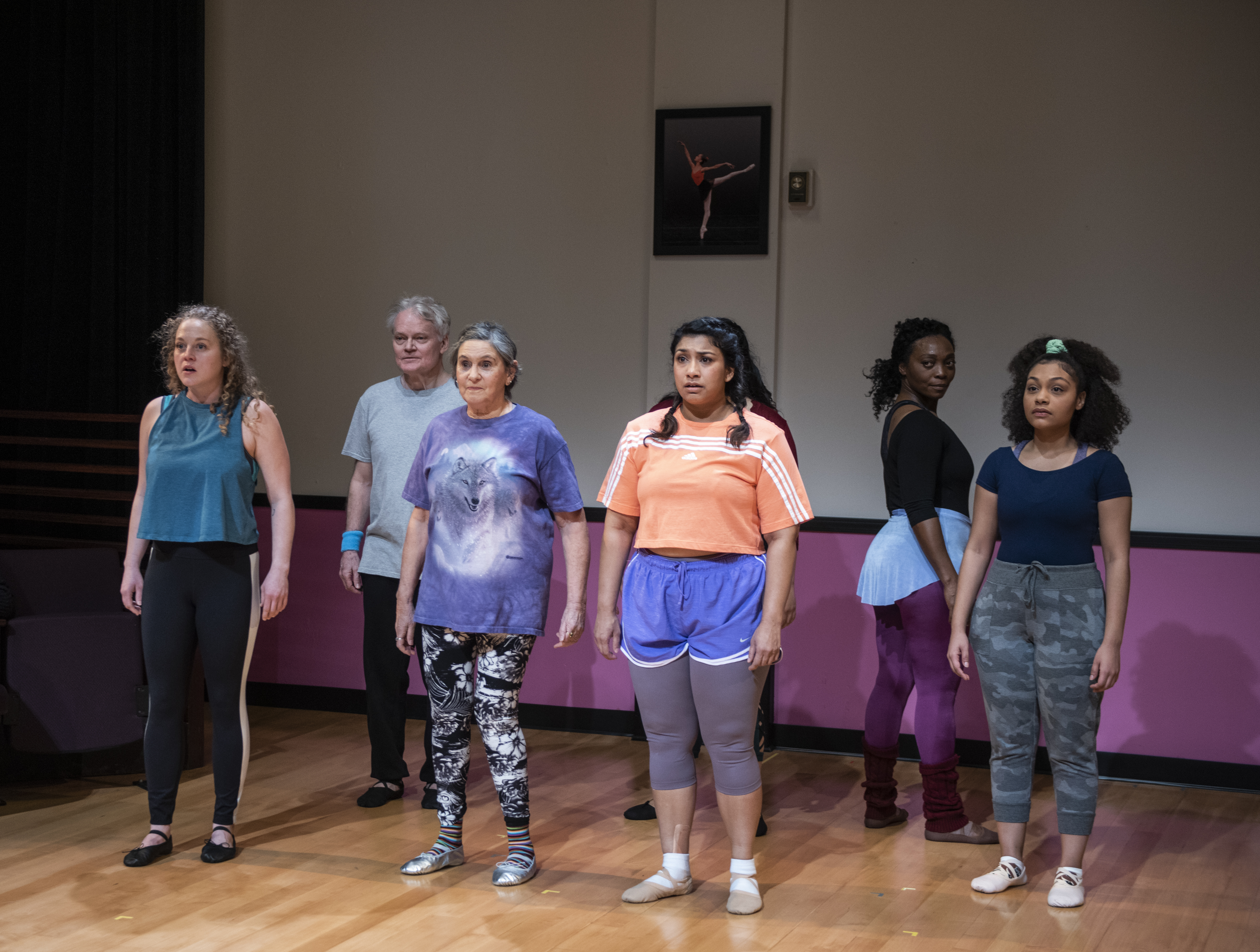 """The 13-year-olds in """"Dance Nation"""" at Steppenwolf Upstairs Theatre are played by adult actors Caroline Neff, Torrey Hanson, Ellen Maddow, Adithi Chandrashekar, Shanésia Davis and Ariana Burks."""