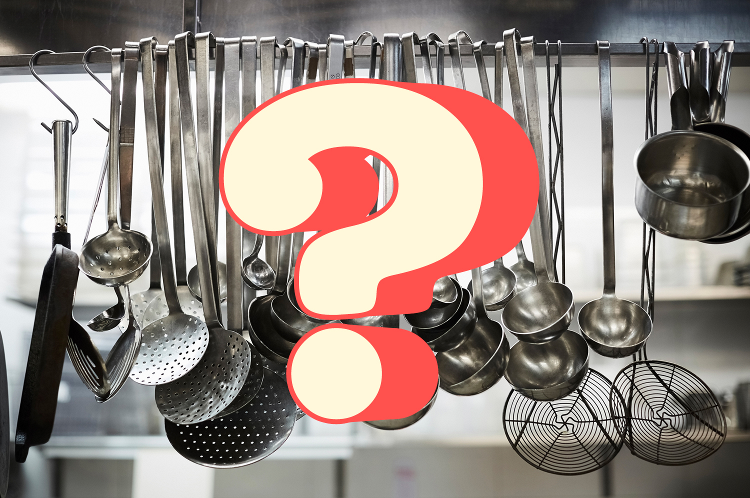 A question mark over a photo of hanging kitchen utensils