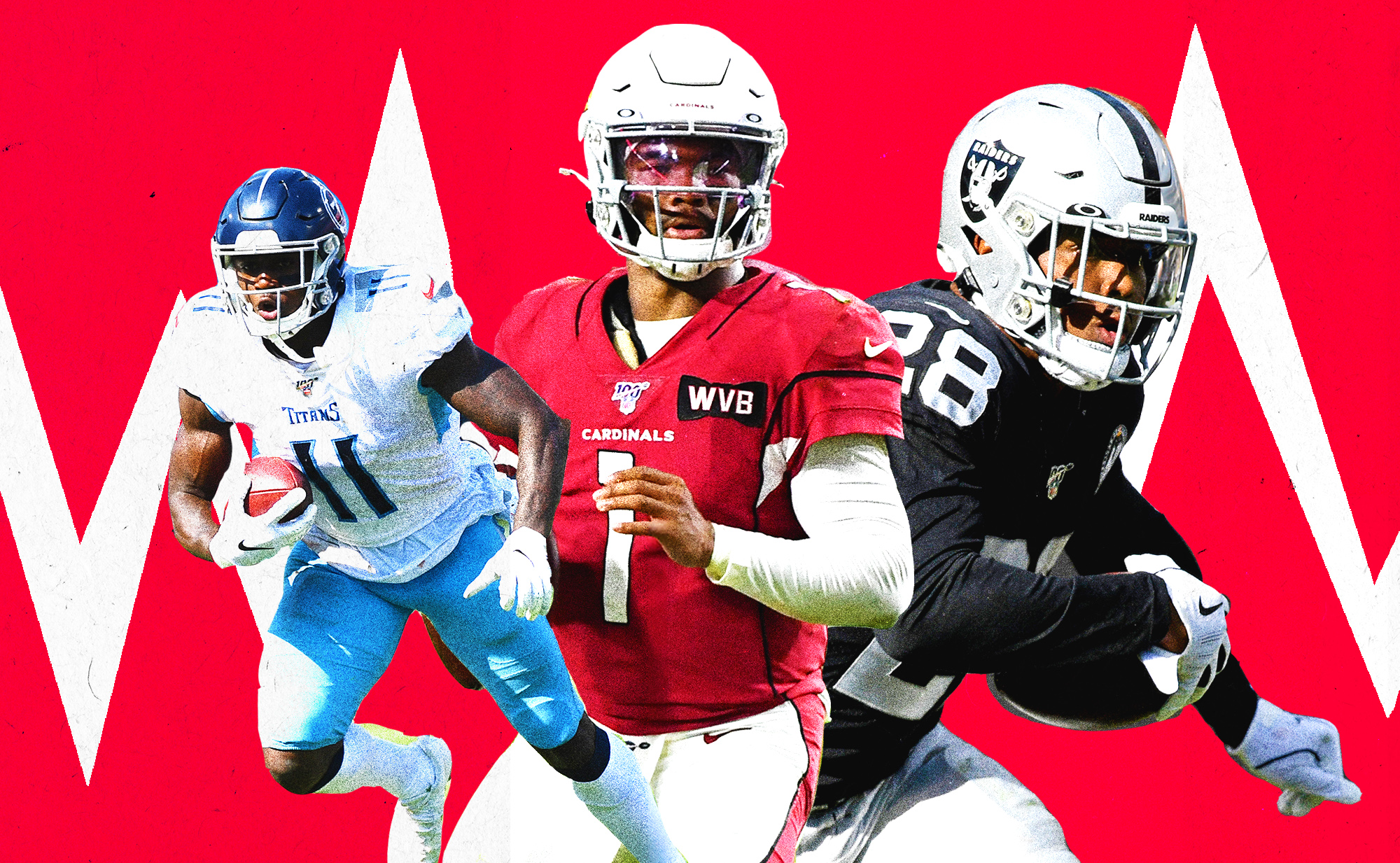 A collage of rookies AJ Brown (Titans WR), Kyler Murray (Cardinals QB), and Josh Jacobs (Raiders RB)