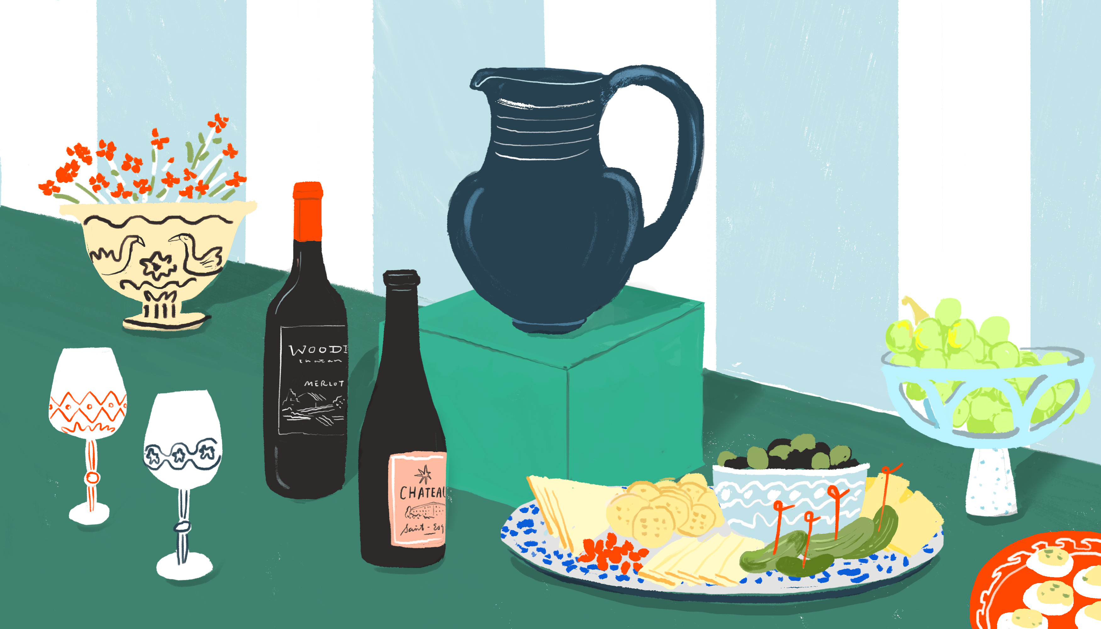 A dark blue, hand crafted pitcher sits on a modern pedestal in a table setting. There are bottles of french wine, decorative glasses and an abundant charcuteries board alongside the pitcher. Illustration.