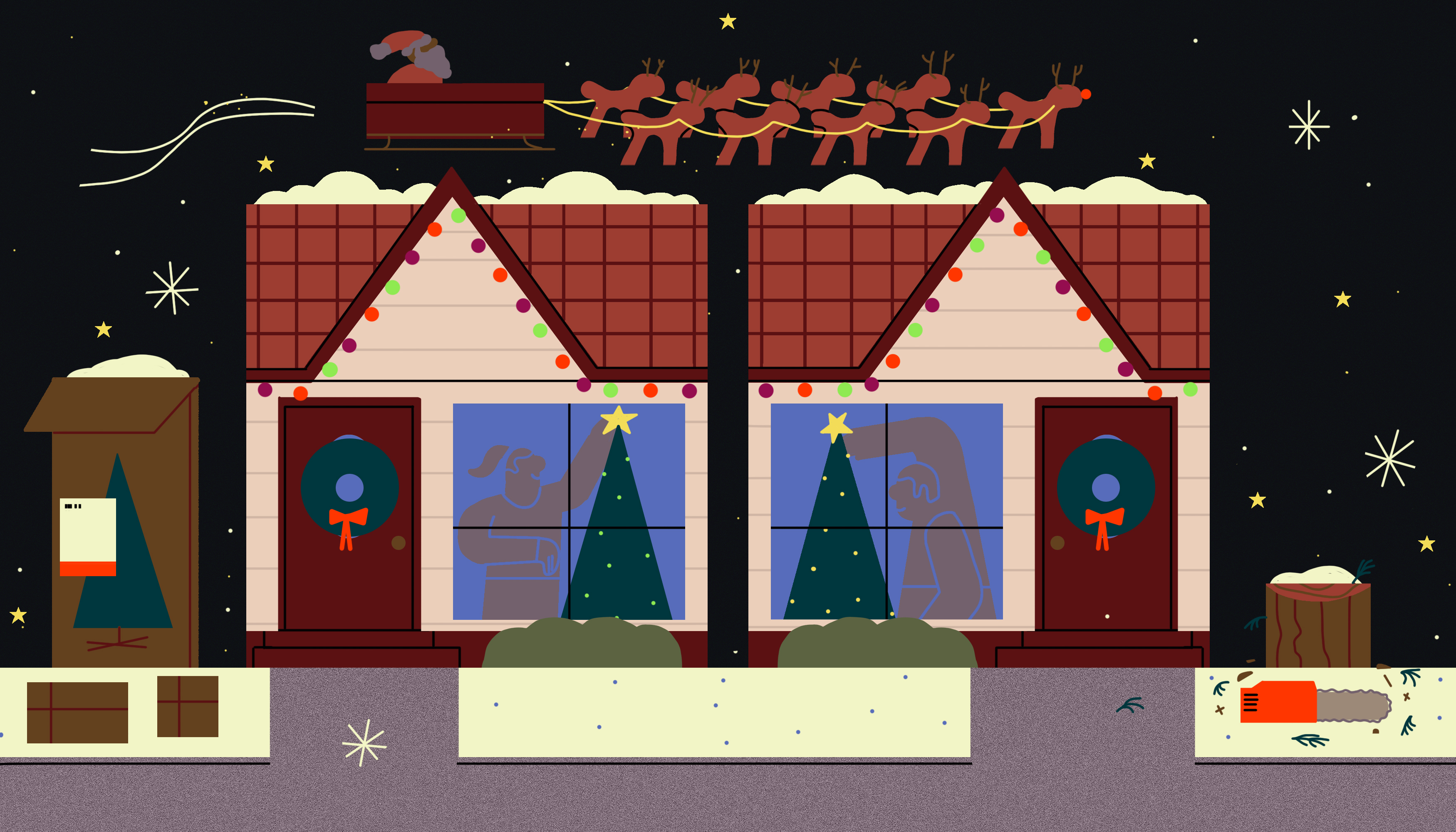Two identical single-family homes sit side by side on a neighborhood street at night. Through the windows of each home you can see a figure placing a star on two similar Christmas trees. Outside the left home is a cardboard box that the fake tree came in, in front of the right home is evidence that the tree came from a farm. Santa flies with his reindeer in the night sky above. Illustration.