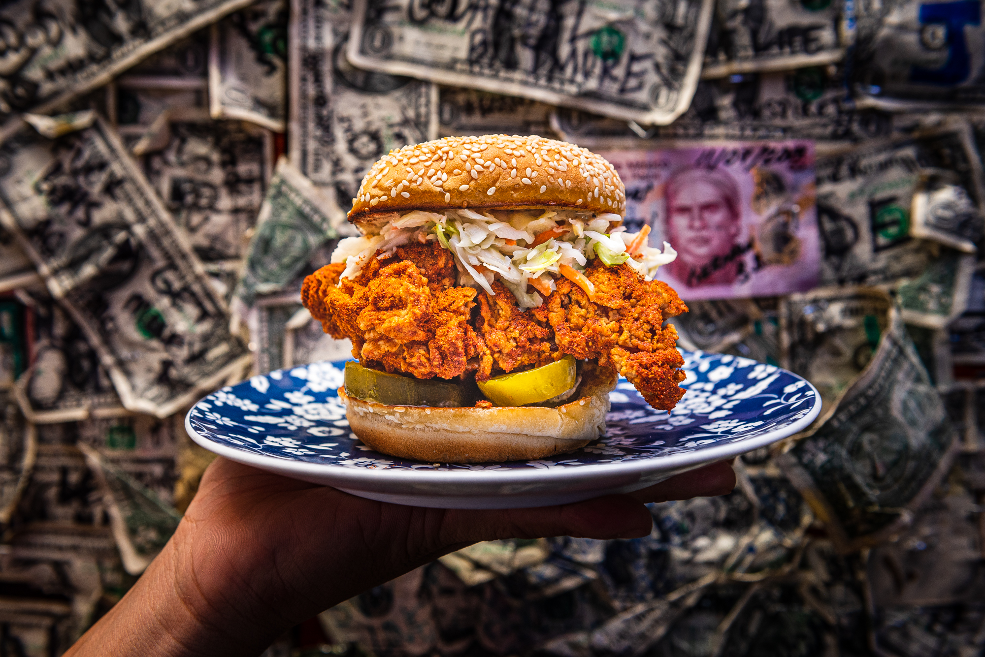 A close-up of the dry hot fried chicken sandwich from Hot Lola's