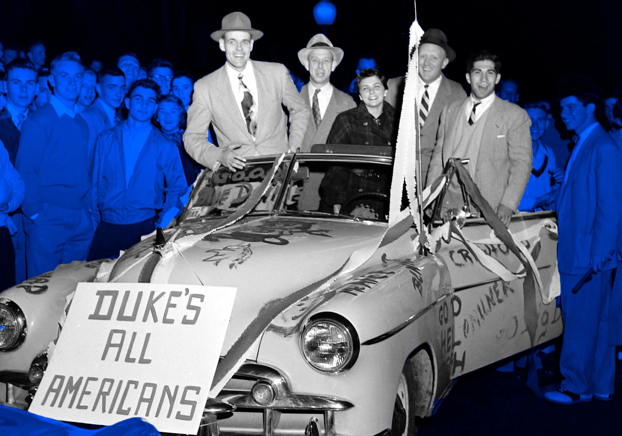 Duke students in a car.