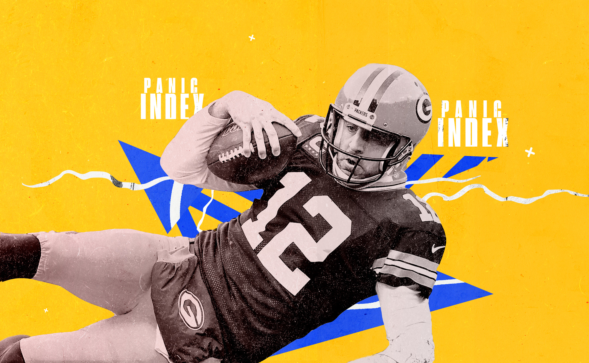 Packers QB Aaron Rodgers slides with the ball in his right hand, superimposed on a blue and yellow background with the words PANIC INDEX in white