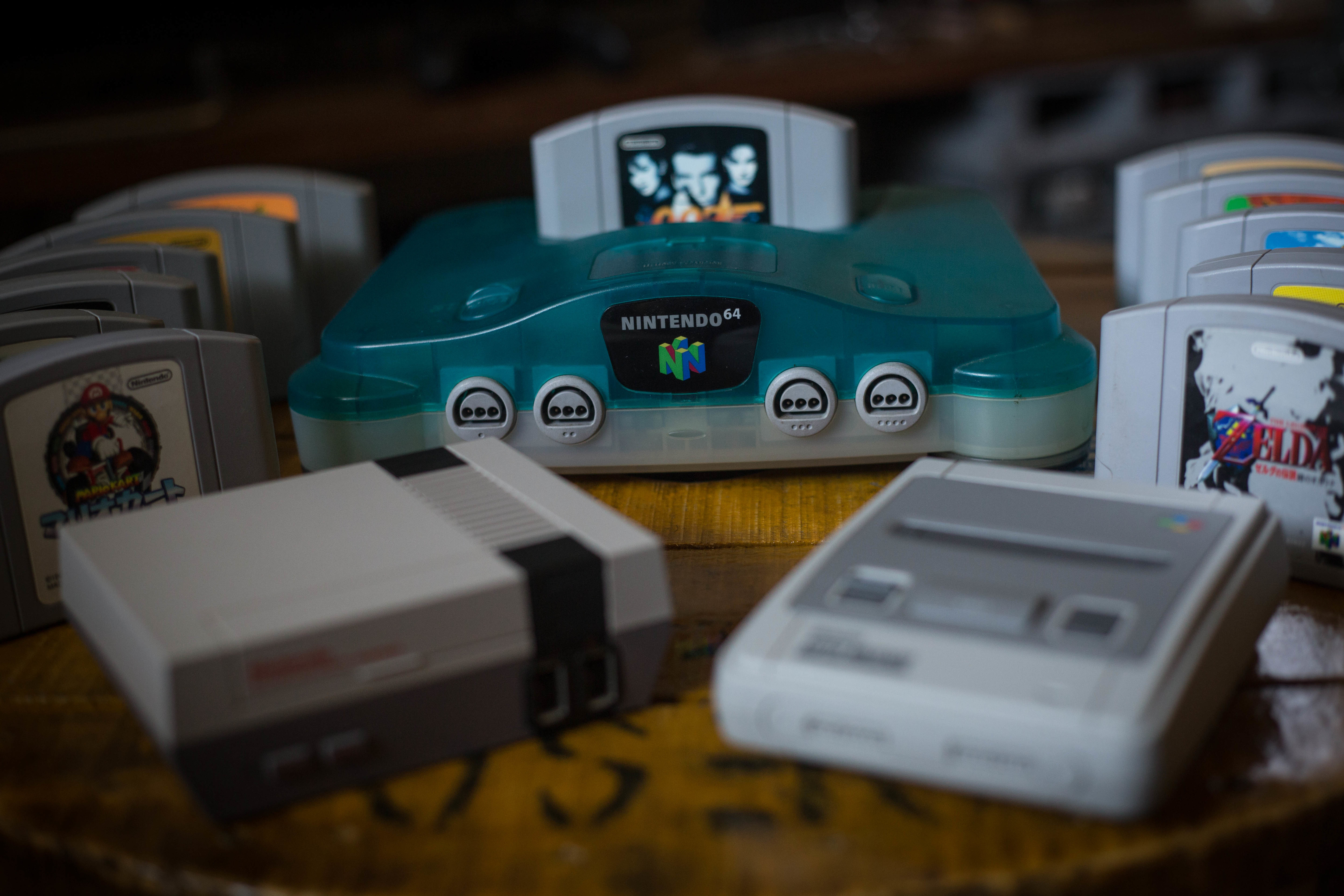 A Japanese edition of the Nintendo 64 clear blue version (M